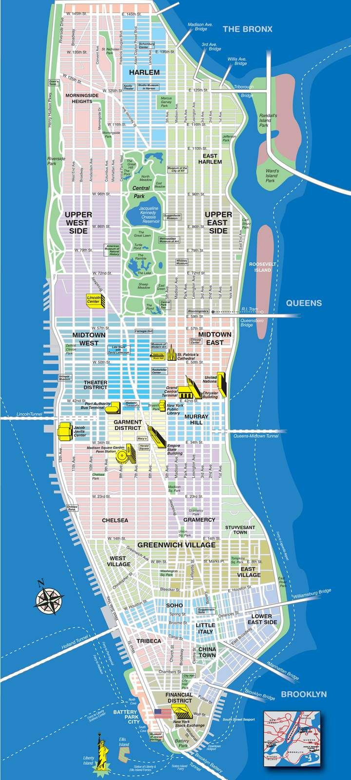 High resolution map of Manhattan for print or