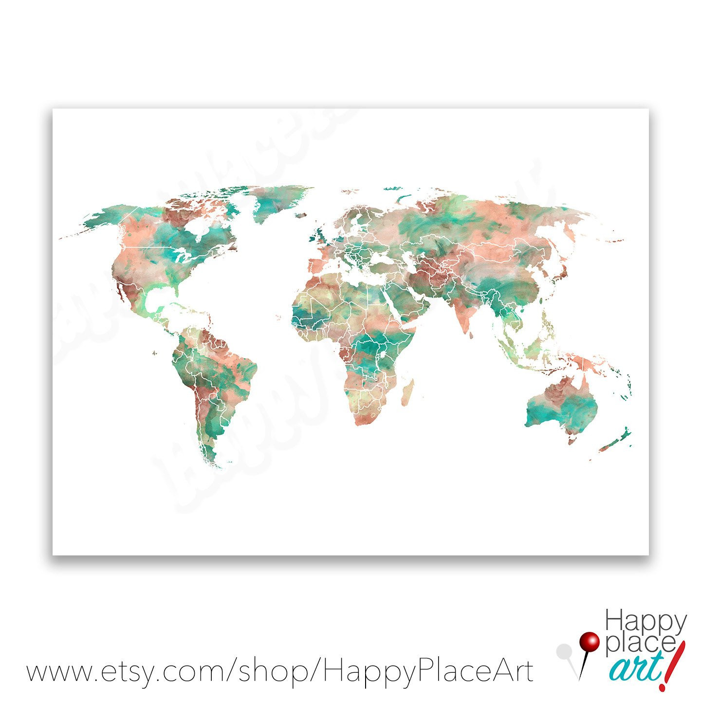 Mint Green Lime and Peach World Map Print 8x10 11x14 or