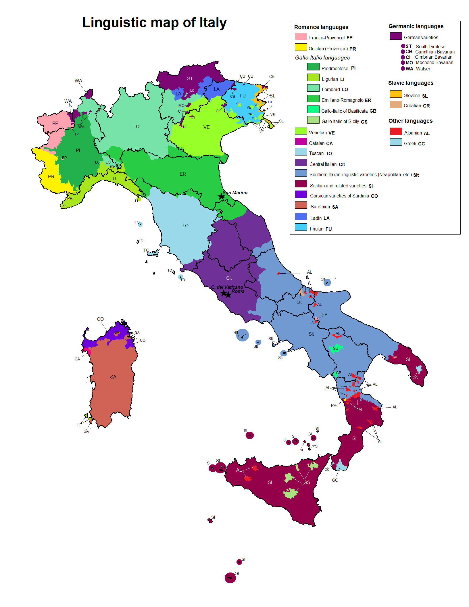 A Printable Map Of Italy Luxury Linguistic Map Of Italy Maps Pinterest