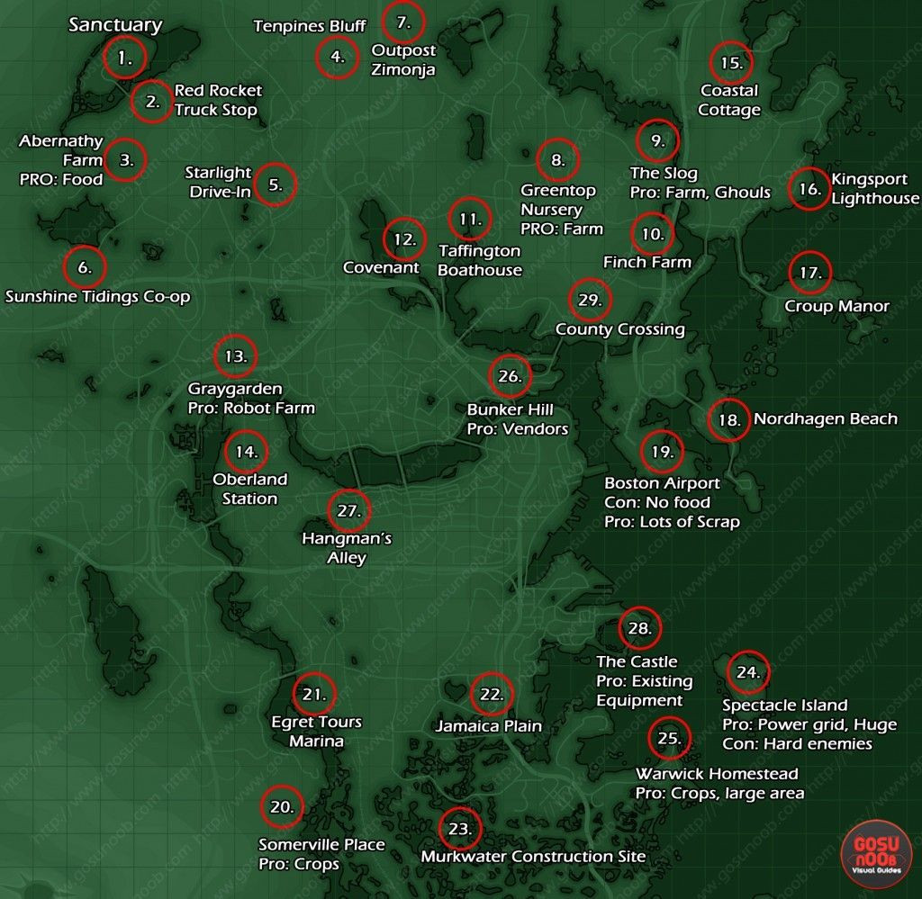 Fallout 4 Printable Map Inspirational Settlement Locations Map Fallout 4 Video Games