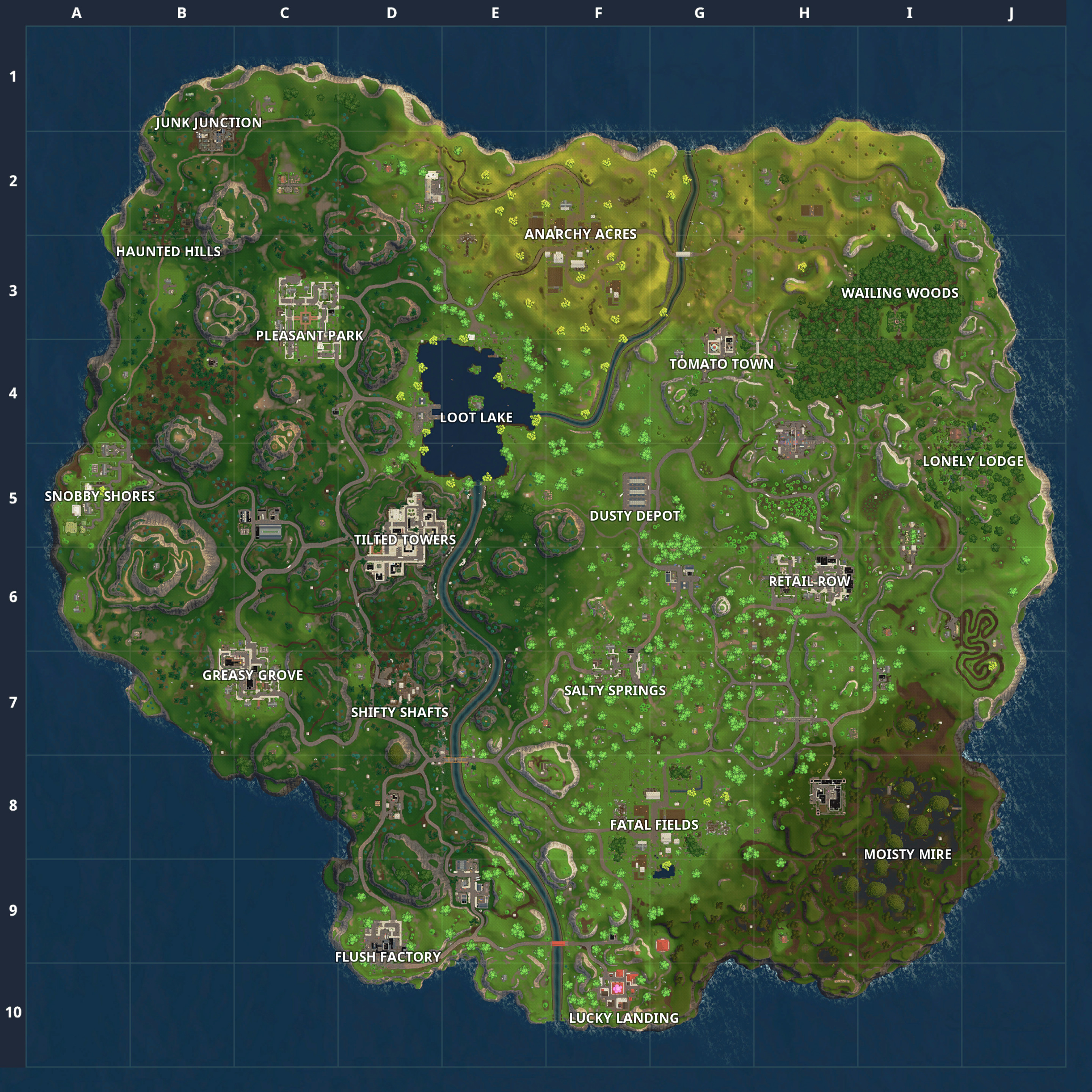 Fortnite Season 5 Map Printable New Fortnite Battle Royale Map Chest Spawn Locations