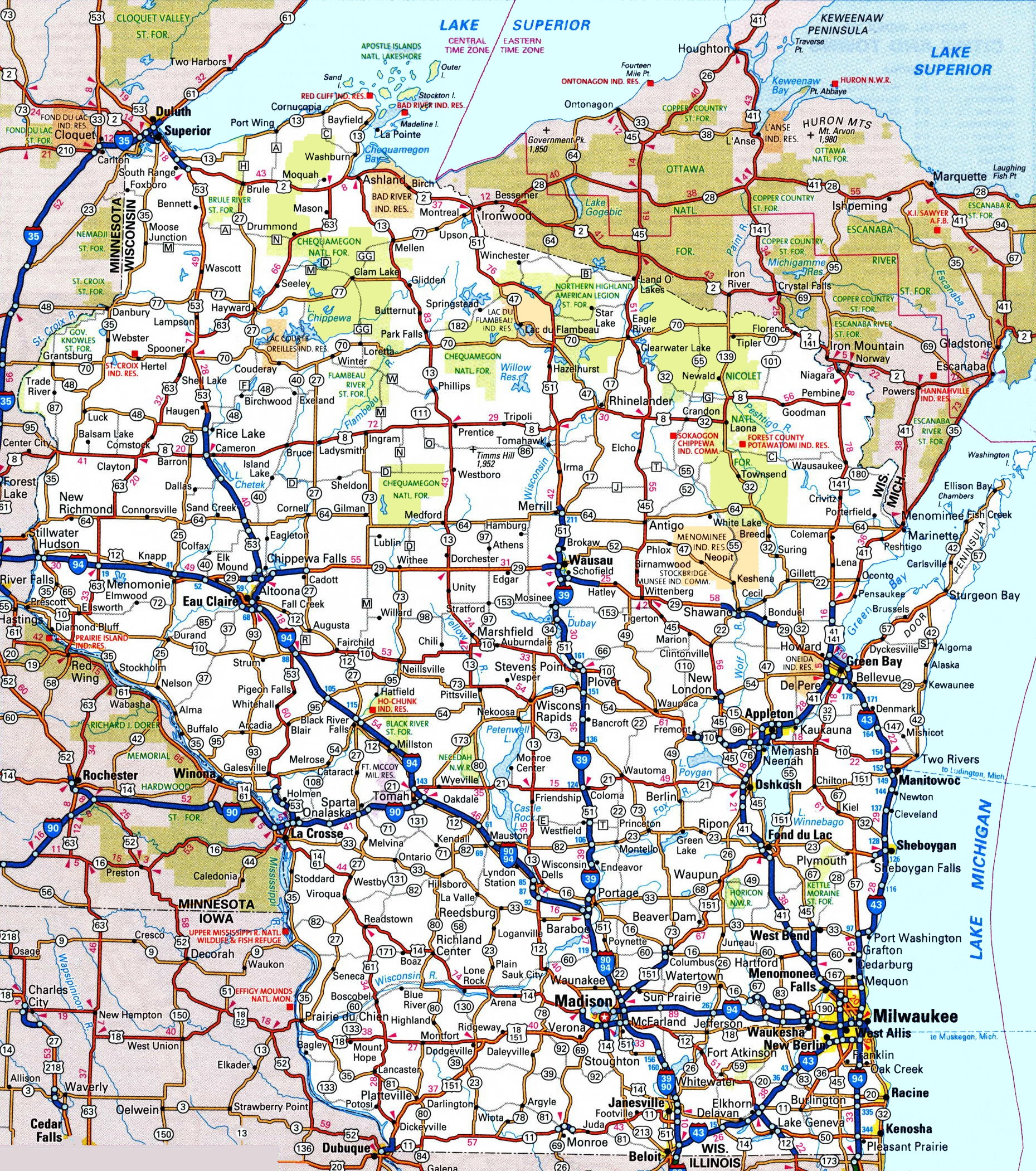 Wisconsin road map ï ¿