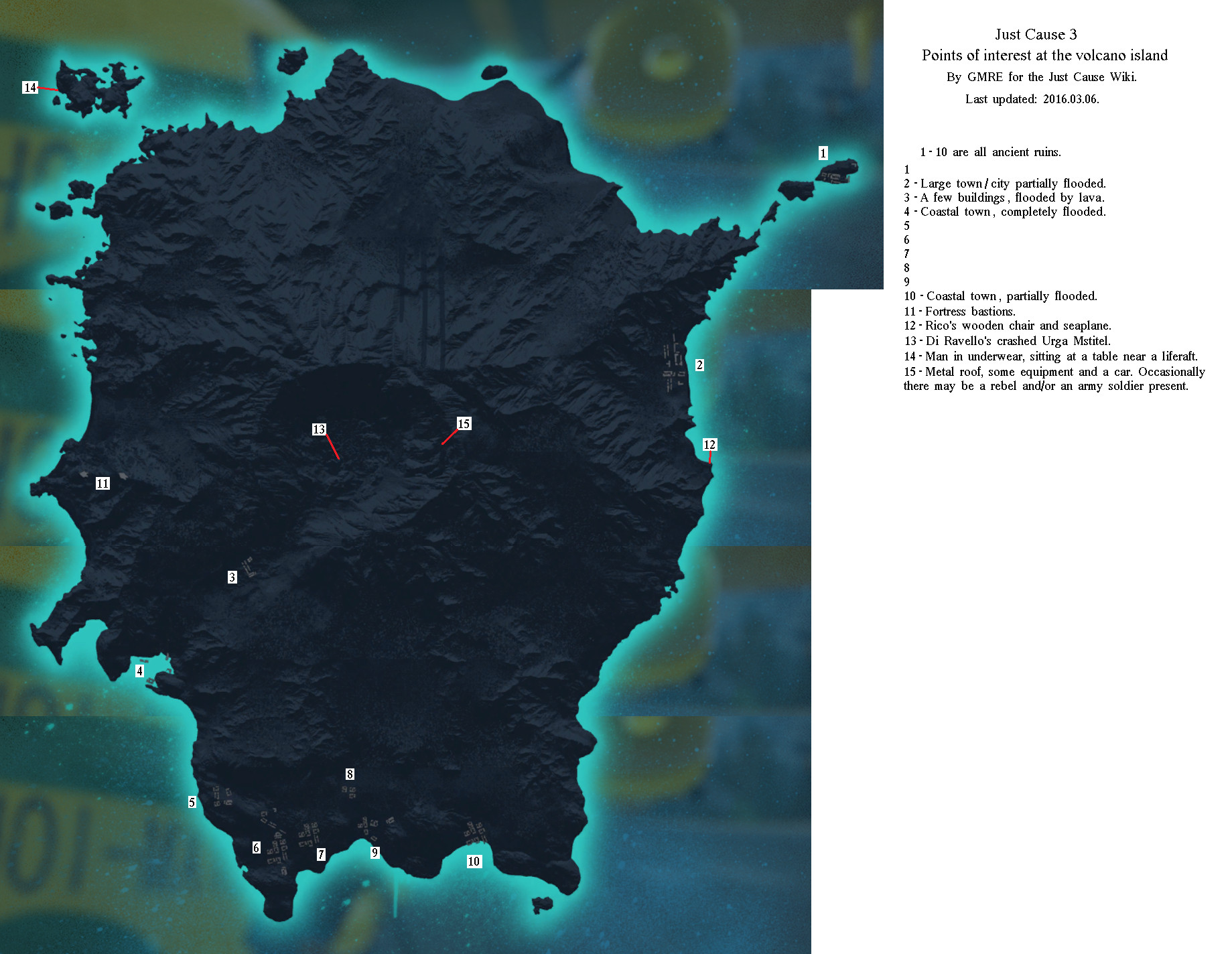 JC3 volcano island points of interest map