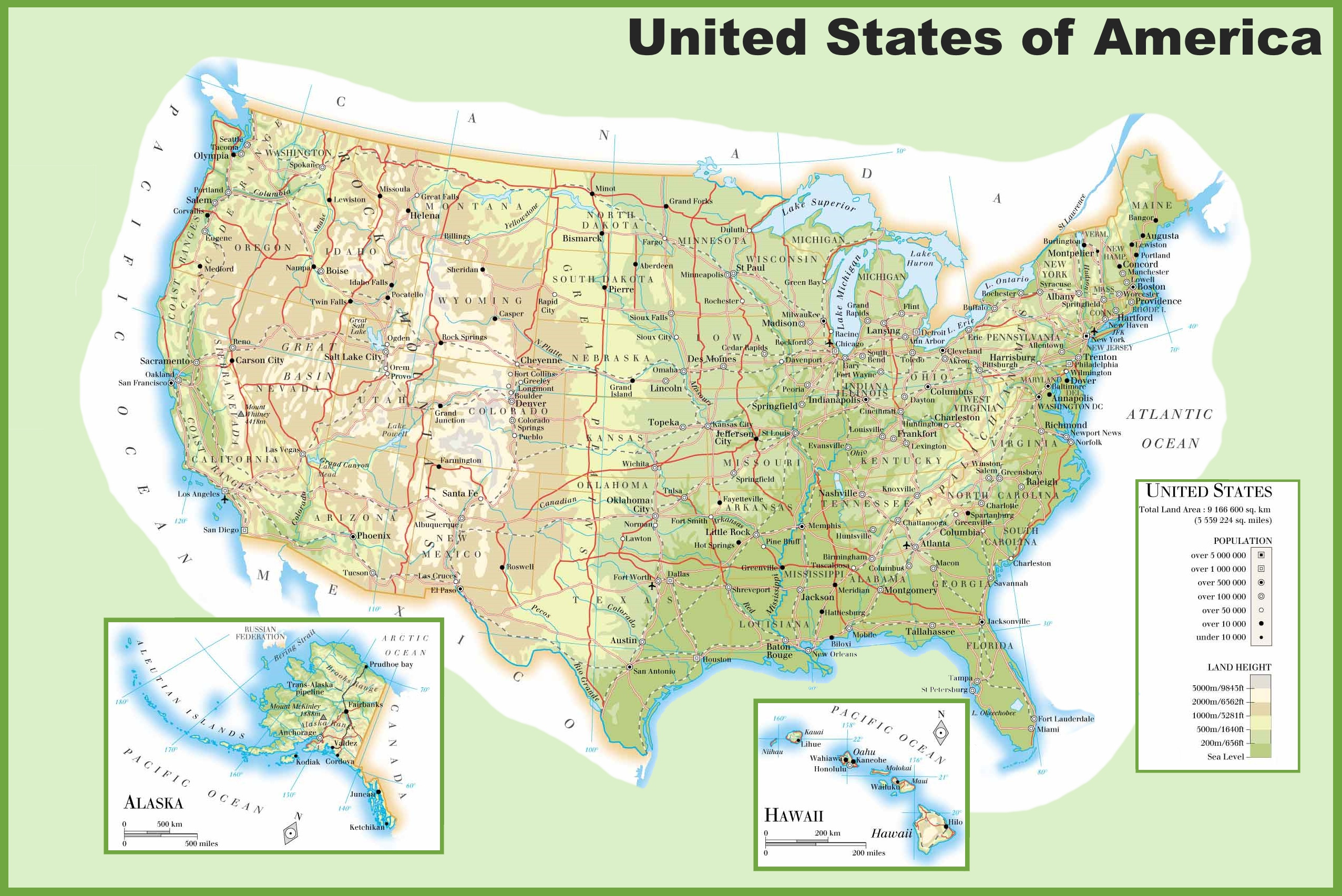 10 Awesome Large Print Map Of the United States