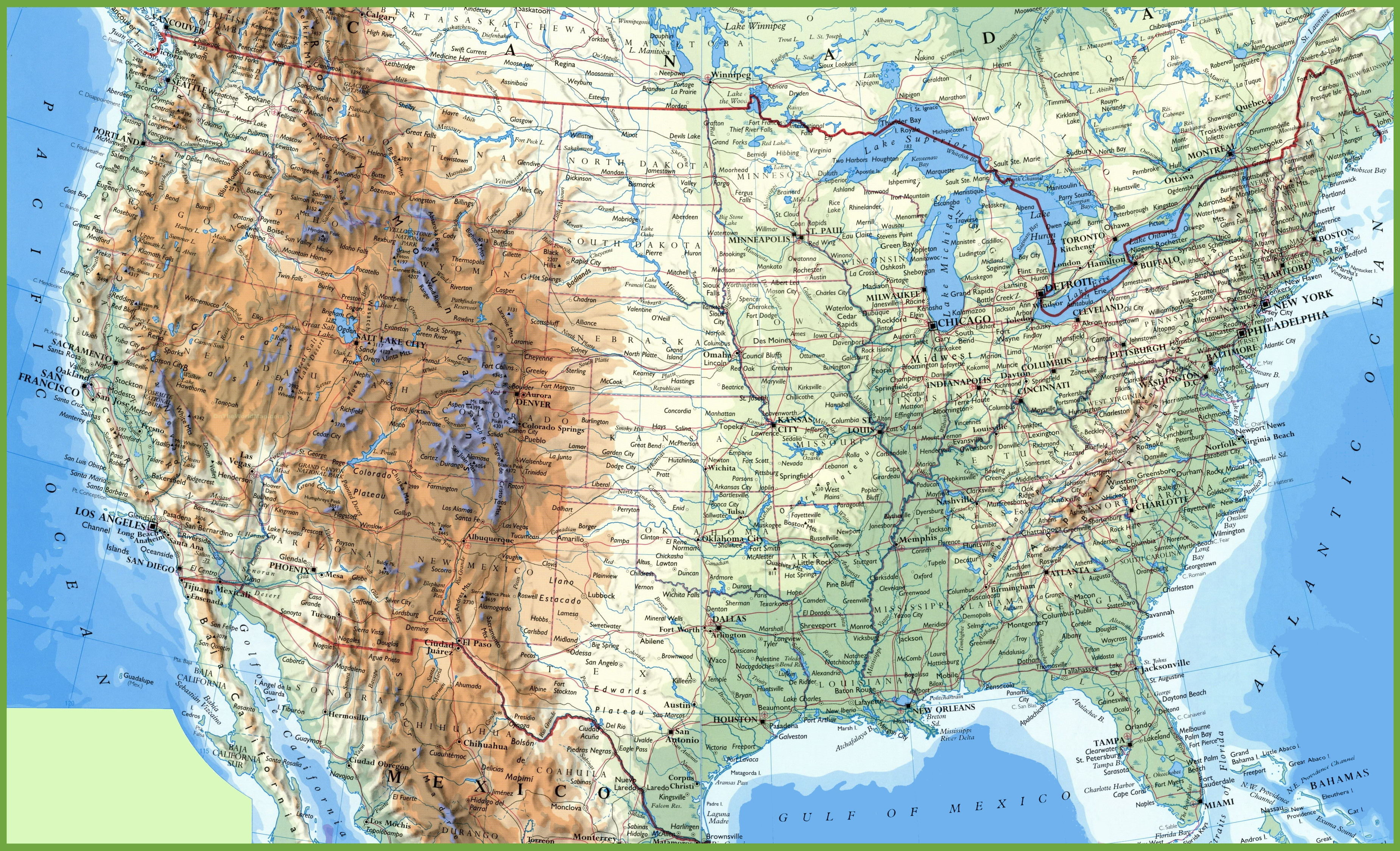 detailed map of USA with cities and towns