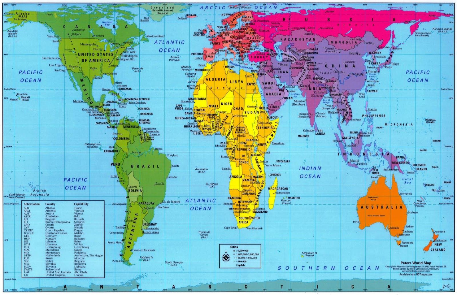 Printable 1 Page World Map Best Of Cont From The Peter S Projection Map Depicting Relative Sizes
