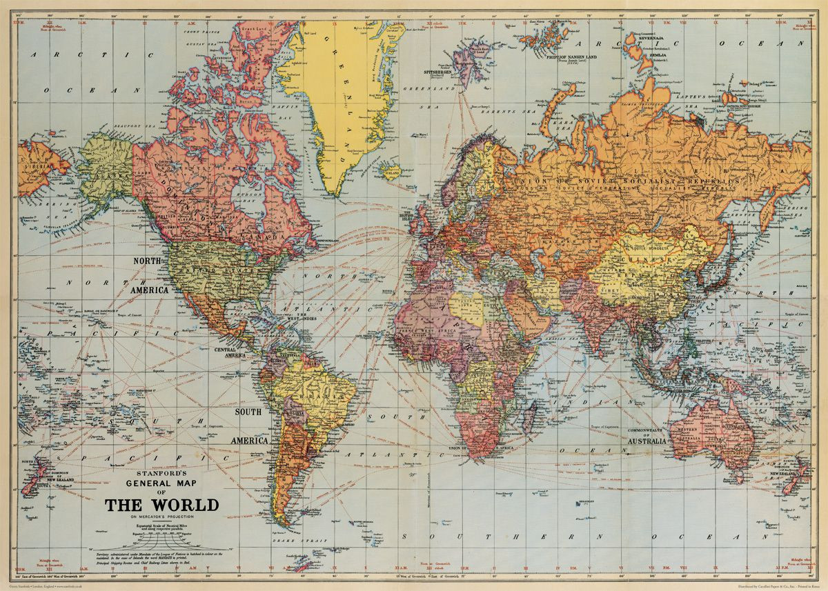 world map vintage poster