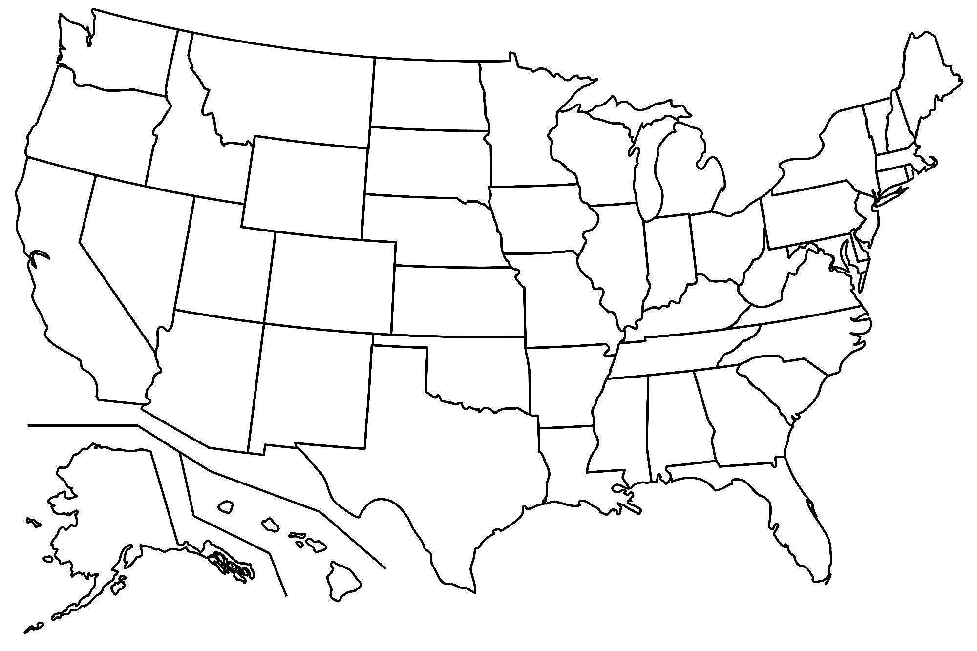 Printable Us State Map With Names Blank Us Map For Capitals