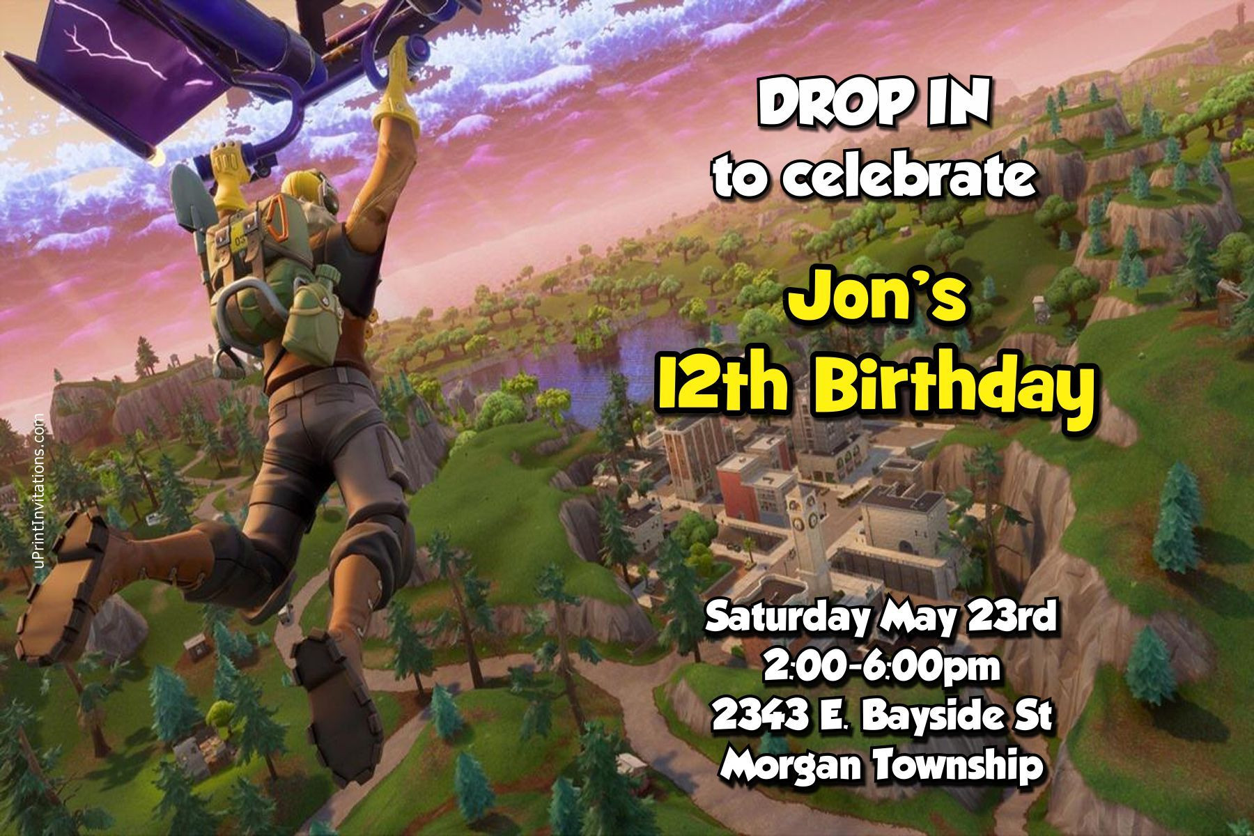 Printable Fortnite Map Season 4 Beautiful Fortnite Drop In Birthday Invitations Any Wording Digital