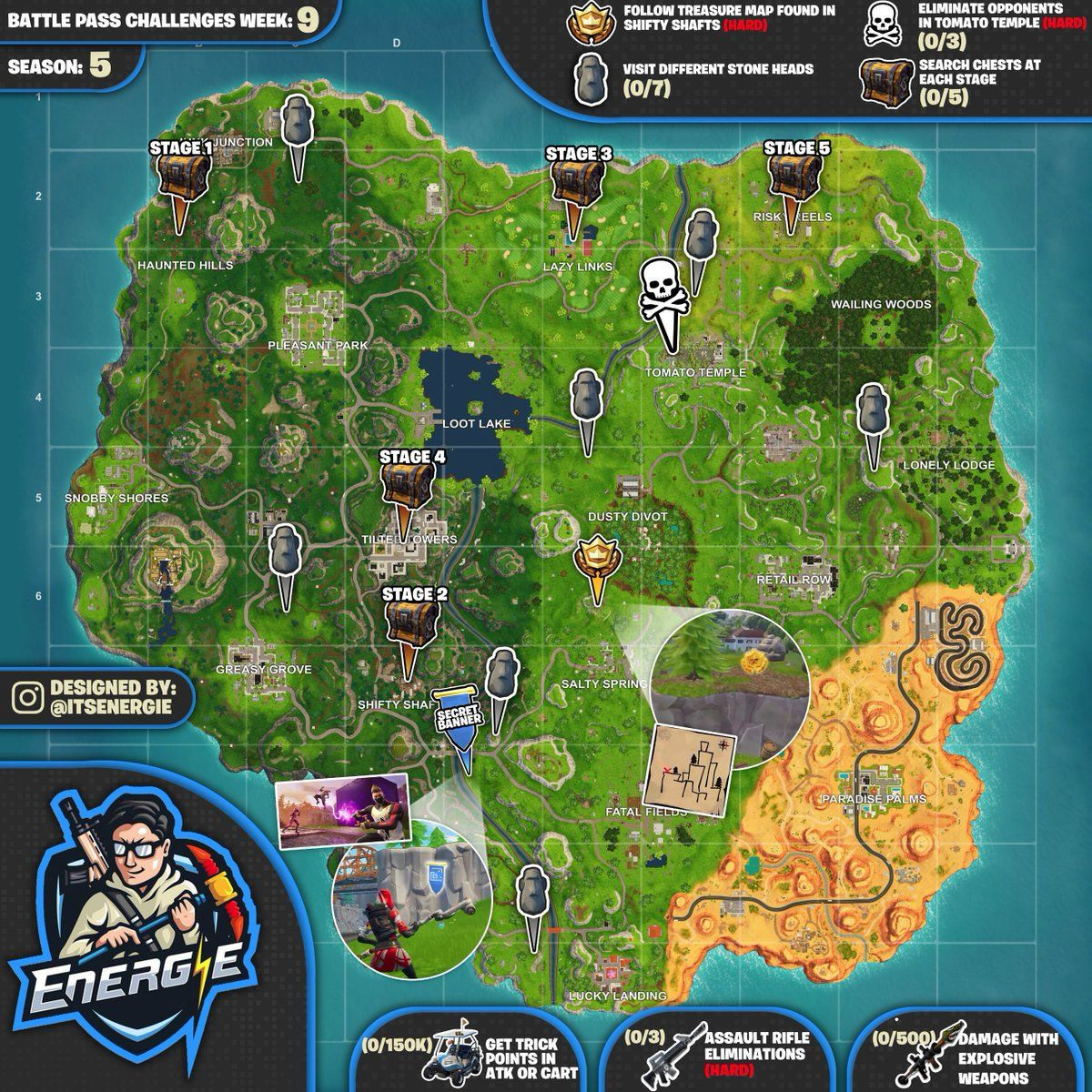 Printable fortnite Map Season 5 Awesome Cheat Sheet Map for fortnite Season 5 Week 9 Challenges