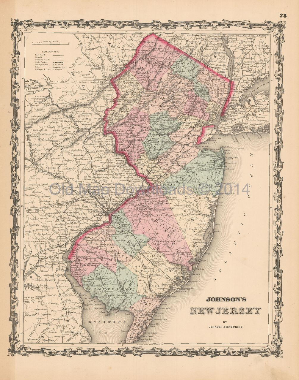 New Jersey Old Map Johnson 1861 Digital Image Scan Download
