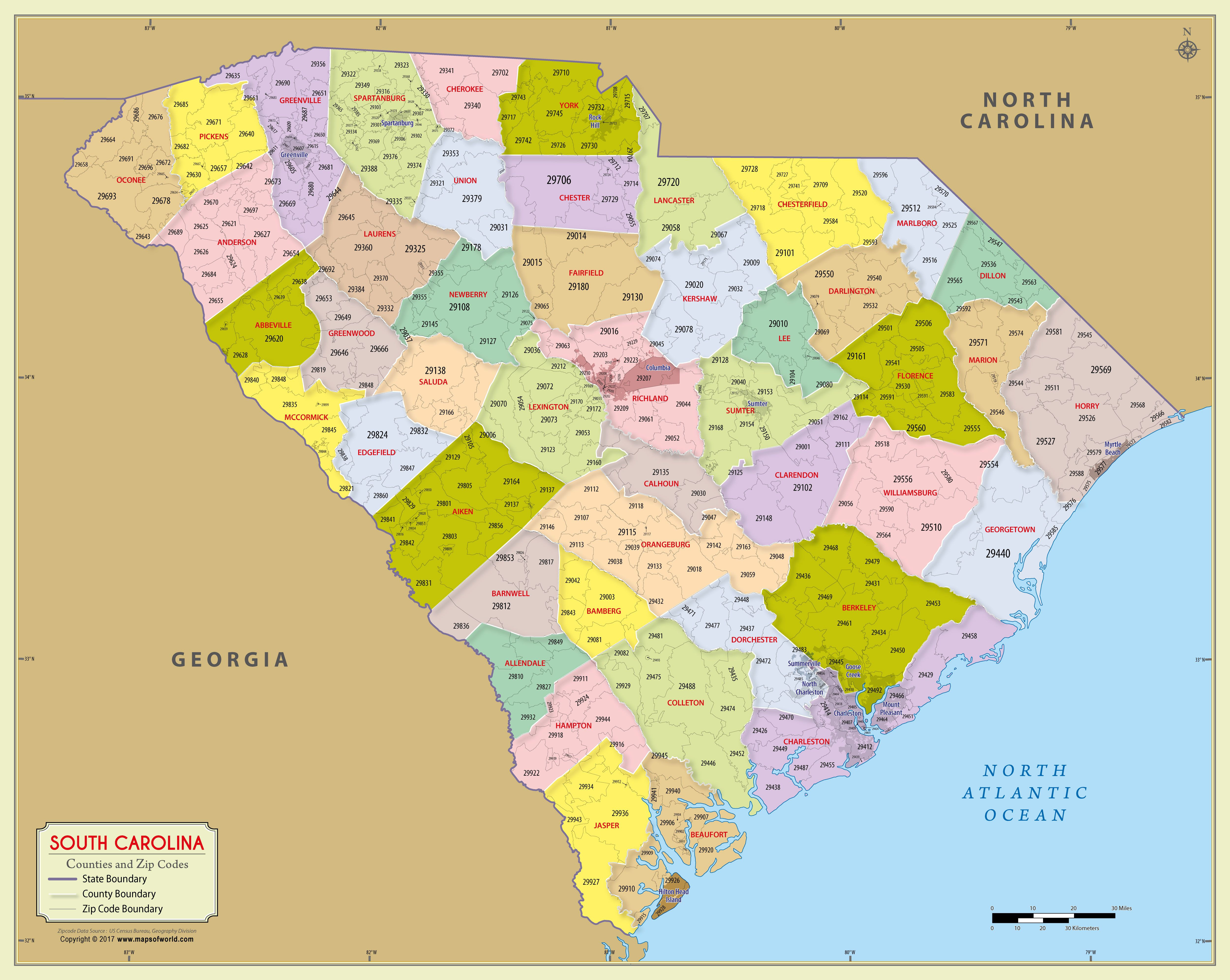 South Carolina Zip Code Map With Counties 48″ W x 38″ H