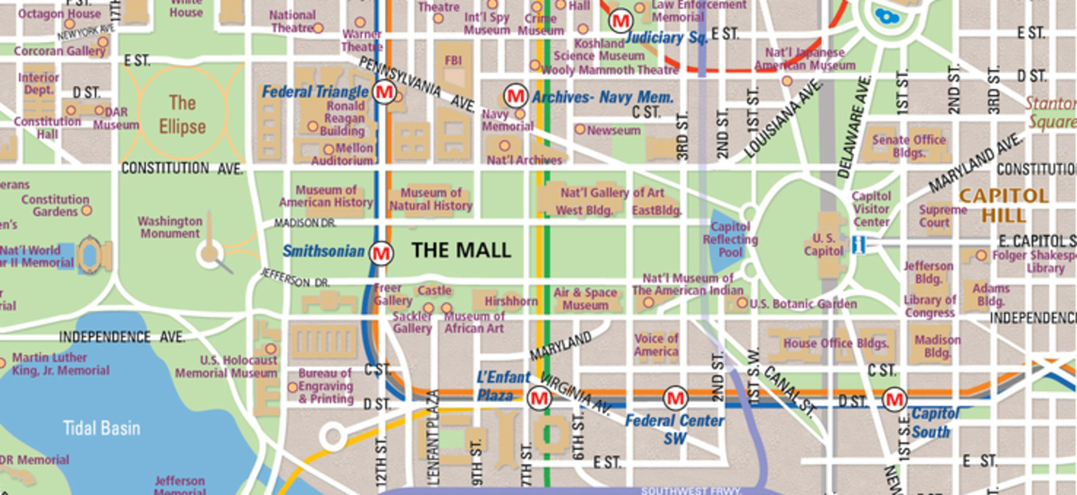 National Mall Map in Washington D C