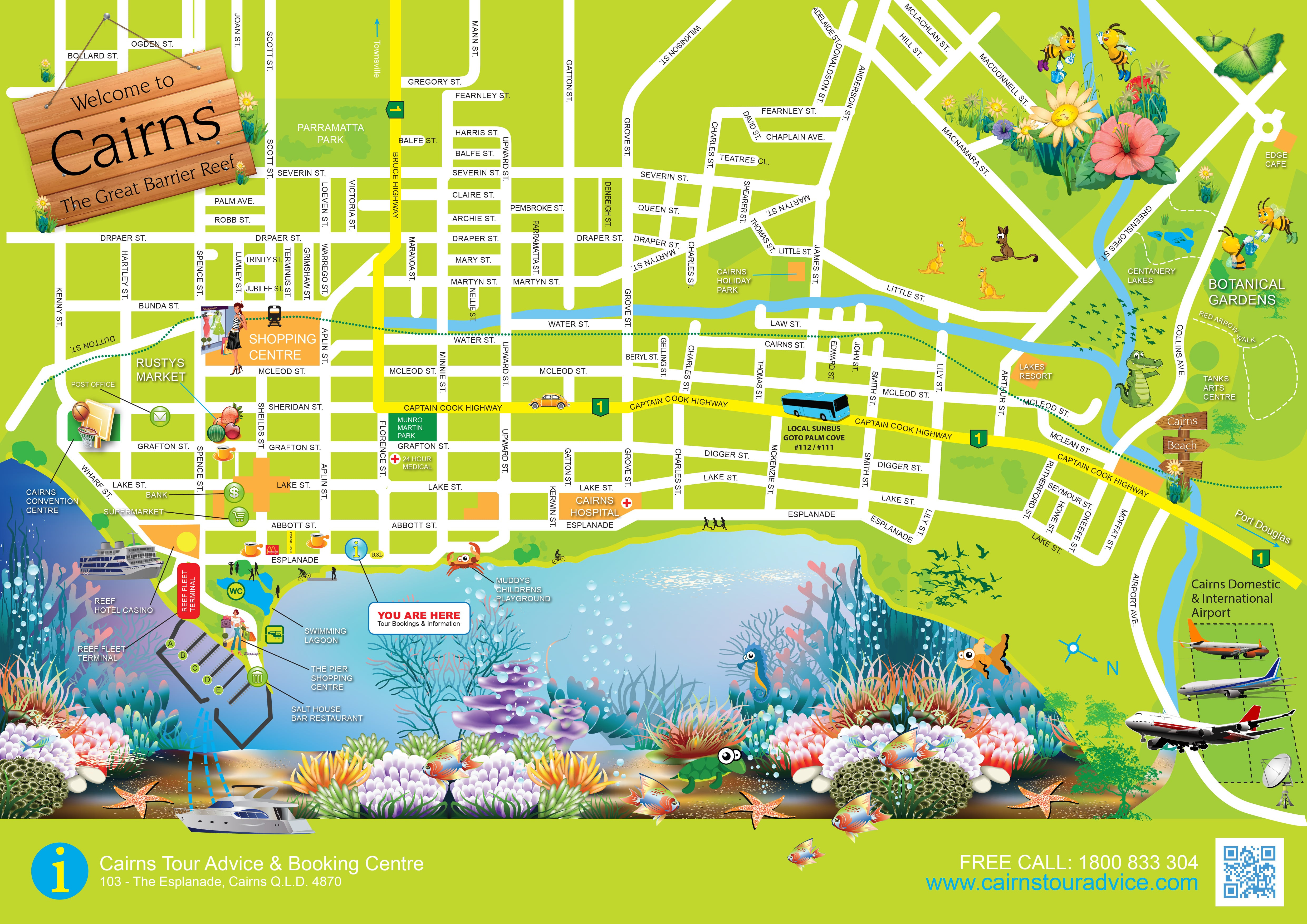 Printable Map Brisbane Cbd Lovely Free Cairns City Tourist Map Download Print And Cannes Australia