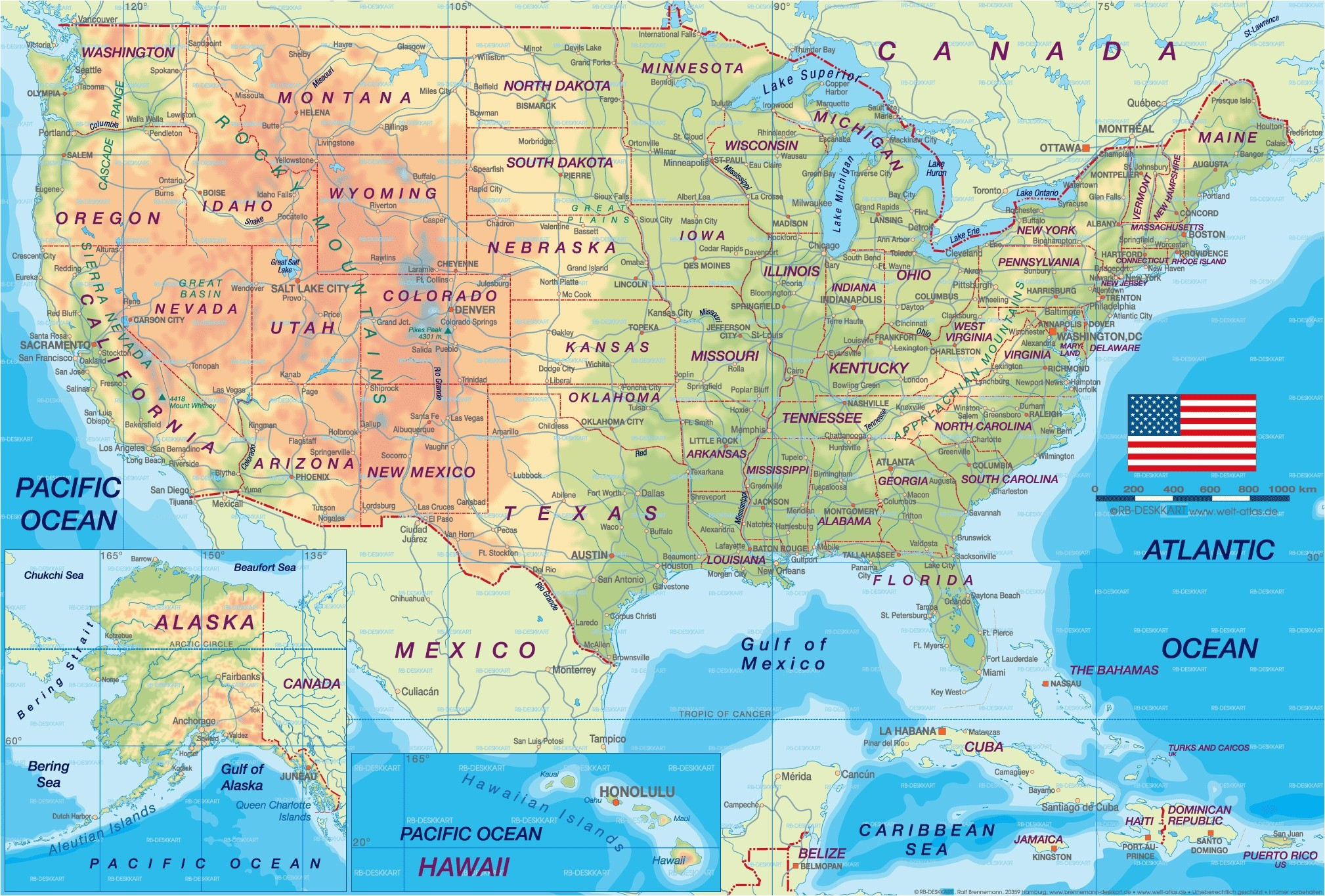 Map north America with States Reference Usa Map Europe Best