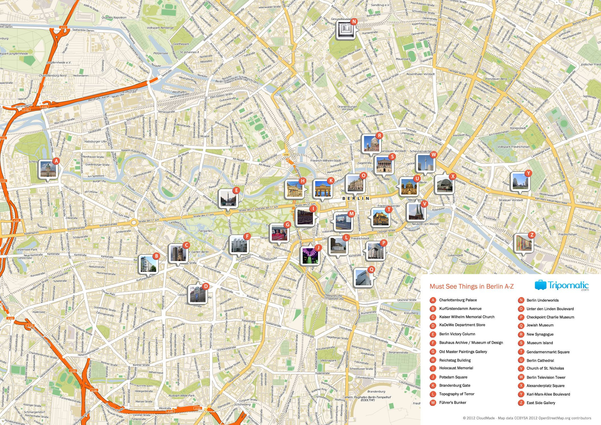 Map of Berlin tourist sights and attractions from Tripomatic