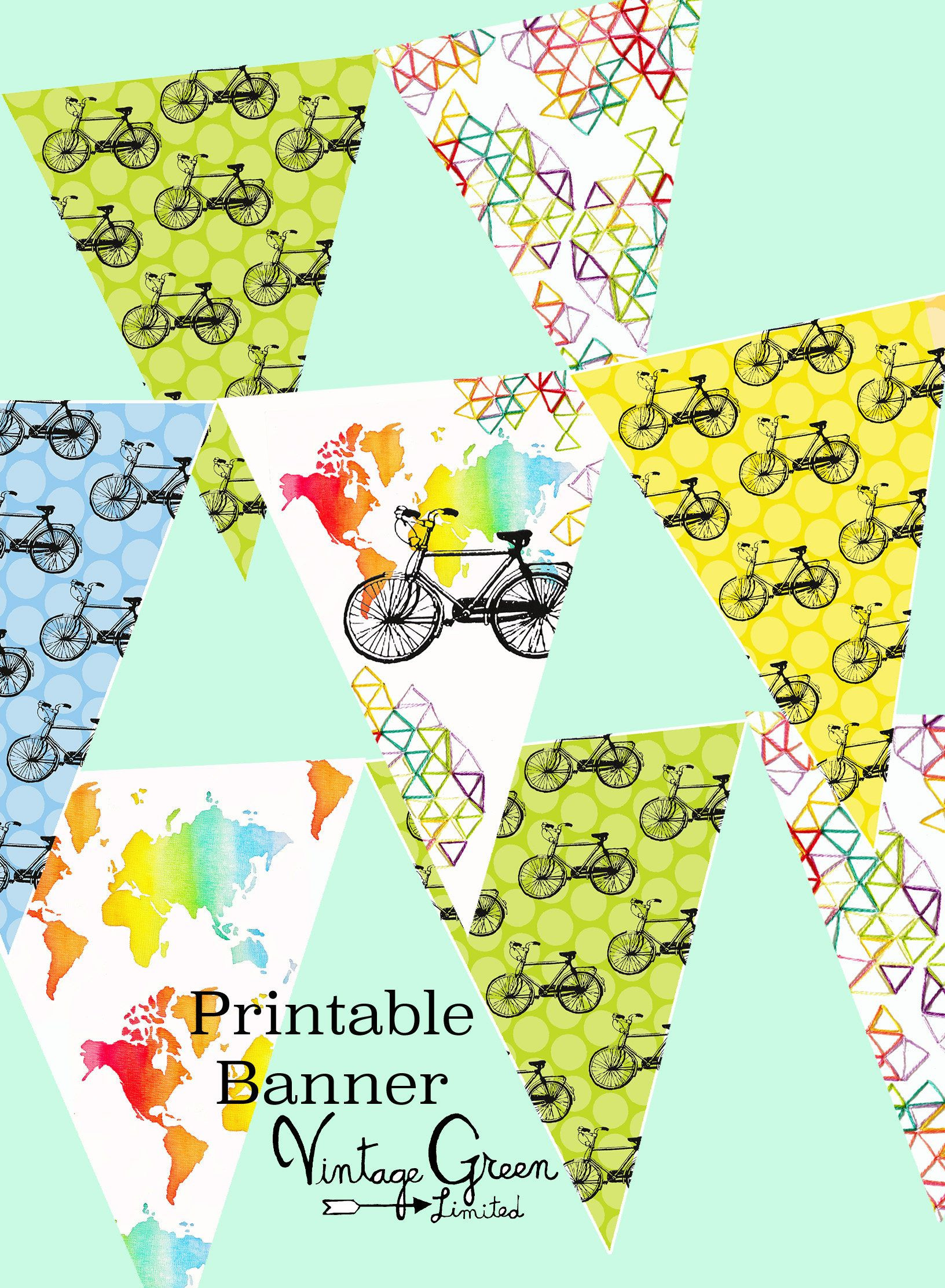Printable Bike Bunting Map Banner Birthday Party Garland Missionary Banner Nursery Decor