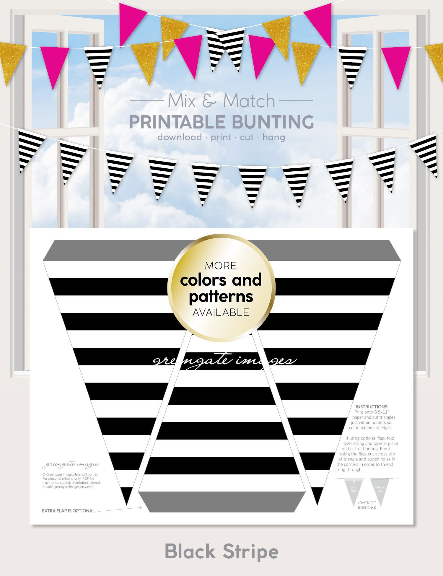 Printable Map Bunting Unique Black Stripe Printable Bunting Download Digital Banner Party