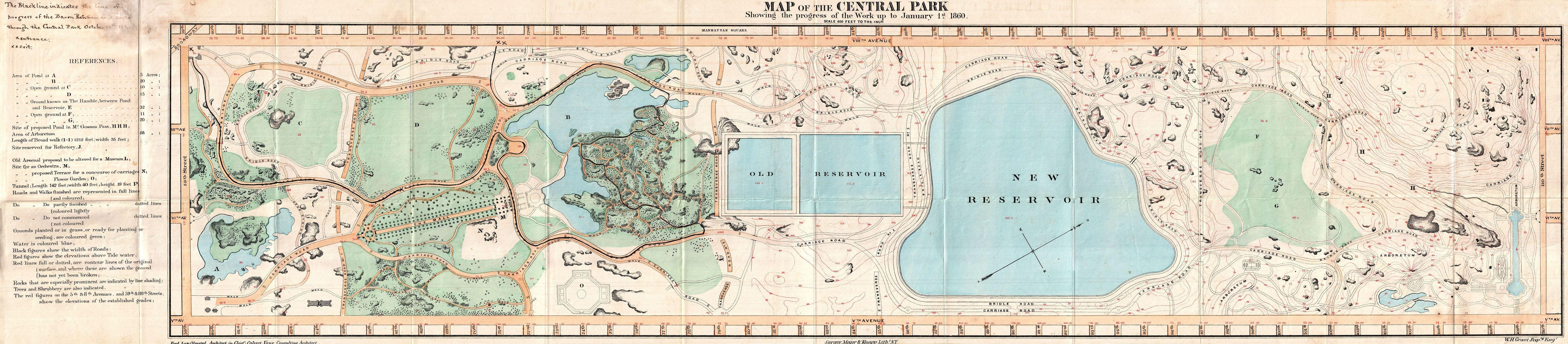 1860 Pocket Map of Central Park New York City Geographicus
