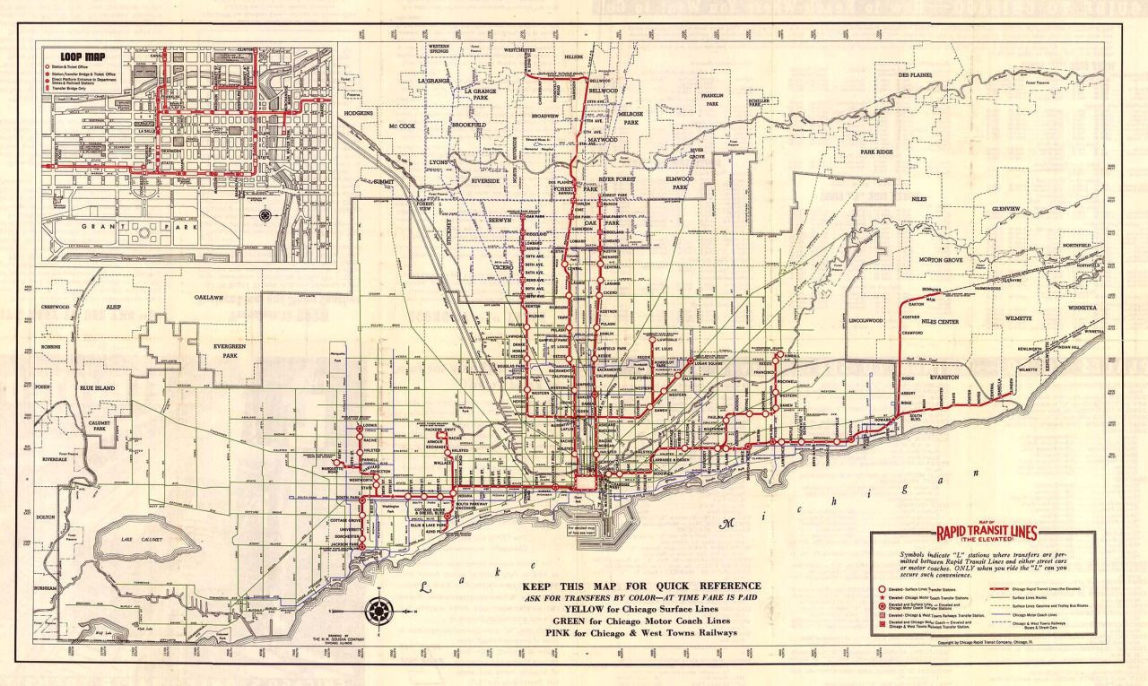 1938 Rapid Transit map of Chicago