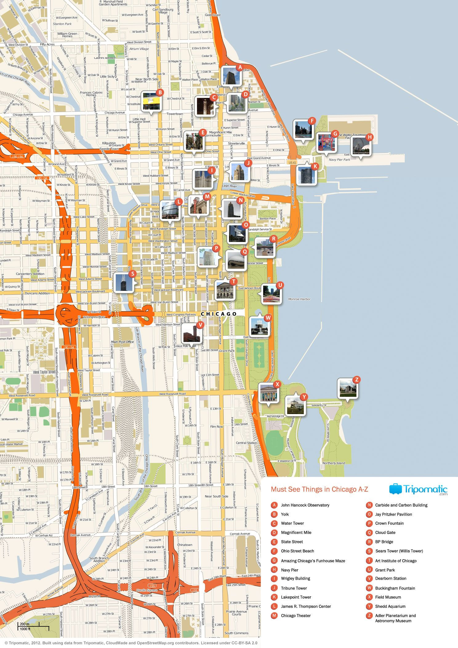 Printable Map Chicago Lovely This Map Shows The Best Tourist Attraction In Every State