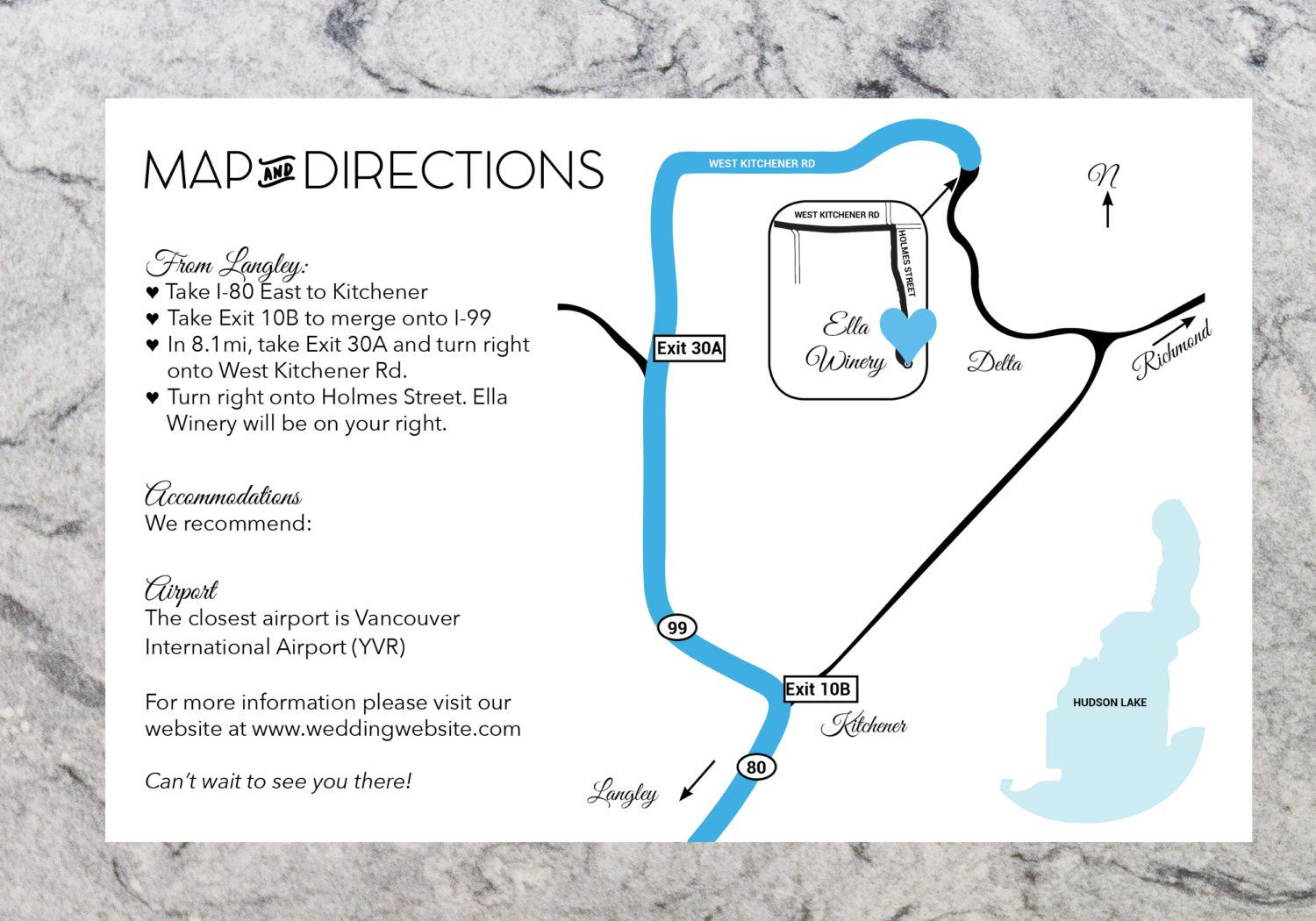 Custom Wedding Directions and Map Information Printable