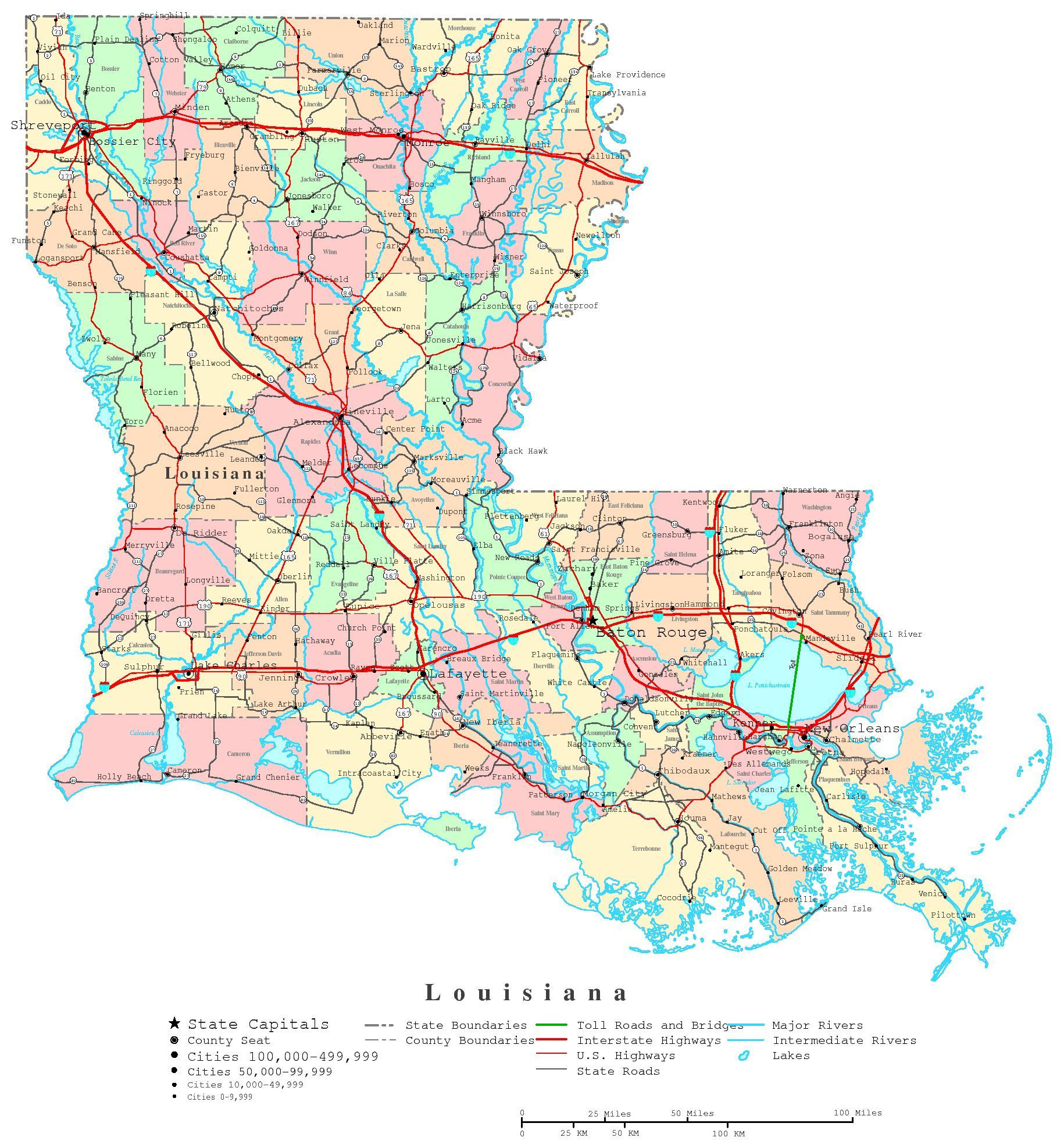 Printable Map of Louisiana Cities