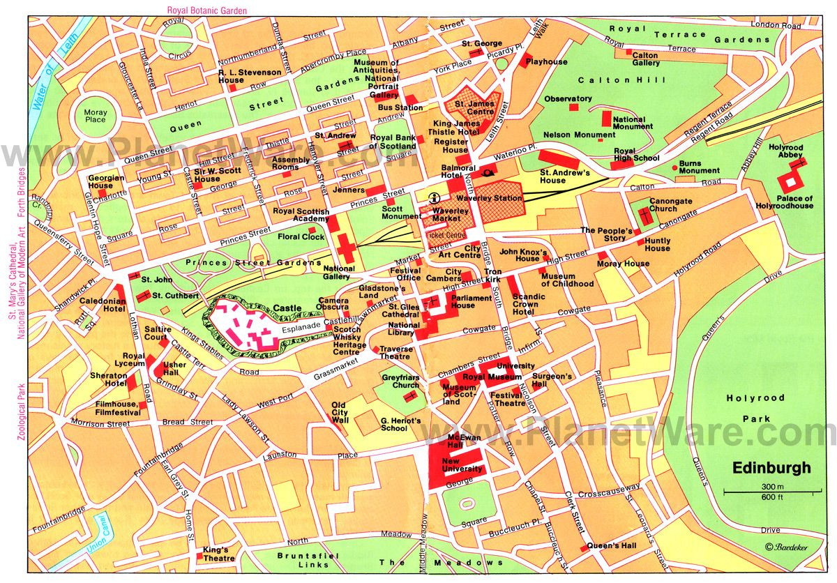 Printable Map Edinburgh City Centre Fresh Map Of Edinburgh Attractions Planetware Printable