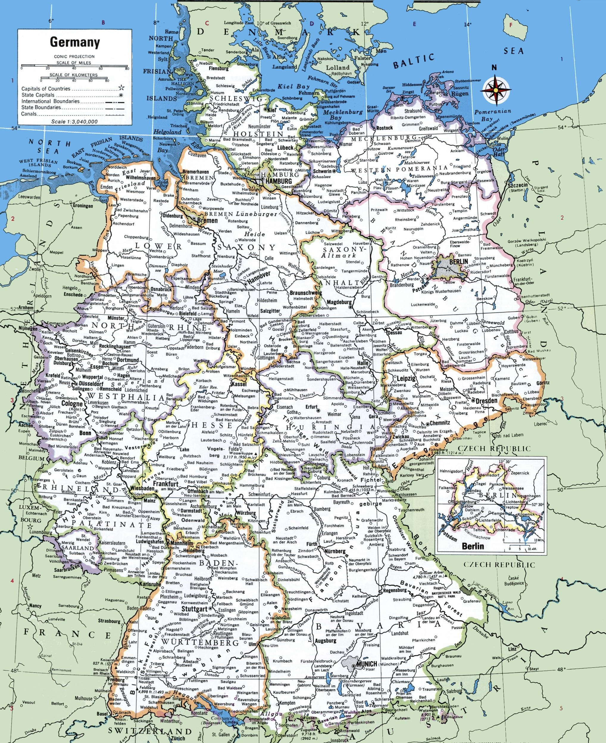 Printable Map Germany With Cities And Towns