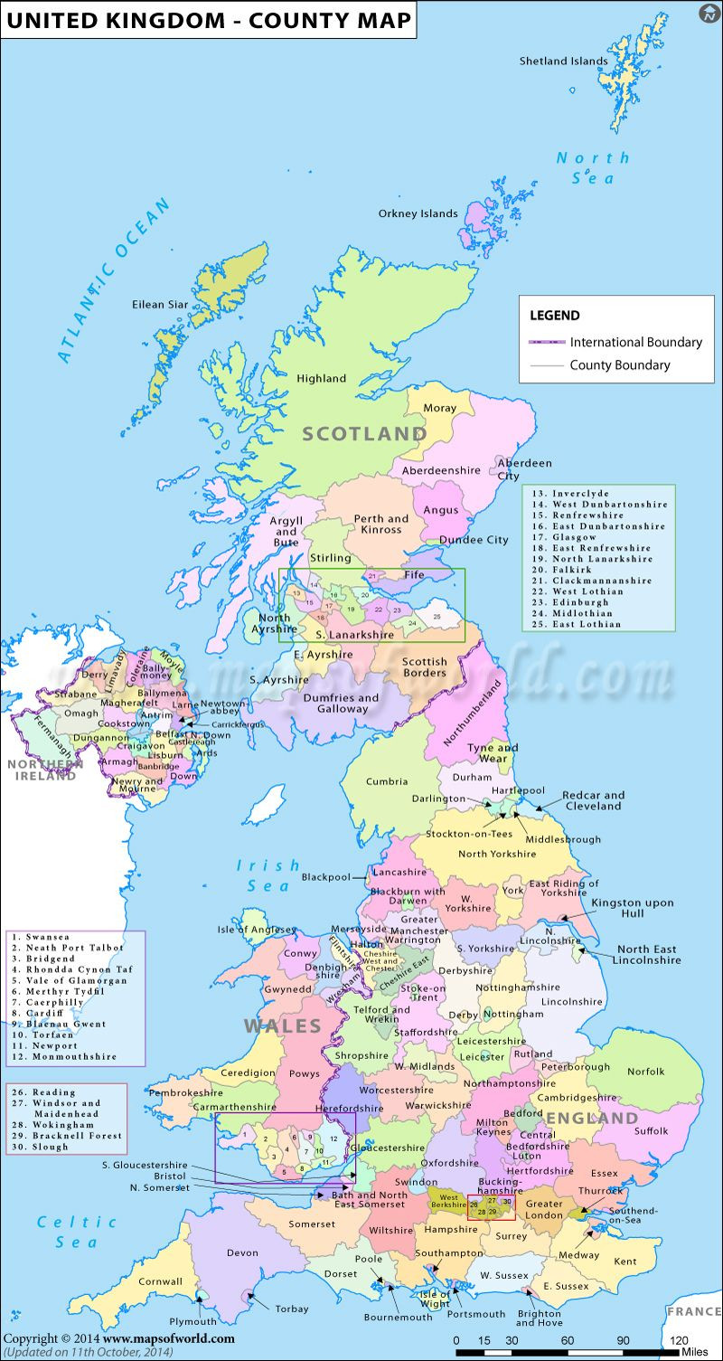 Map of the Counties in the United Kingdom … Travel & Paris