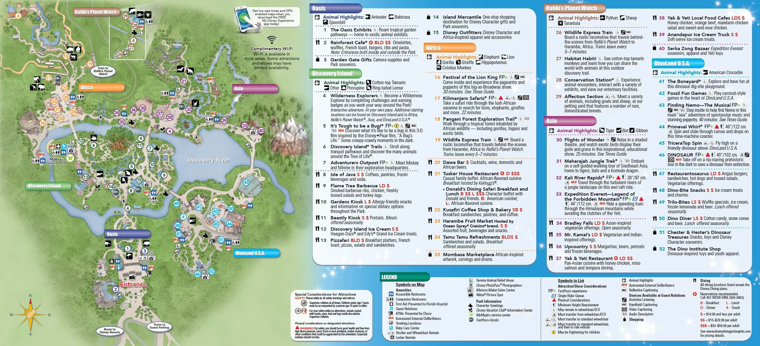 Printable Map Epcot Best Of Disney S Animal Kingdom Park Map Animal Kingdom Lodge