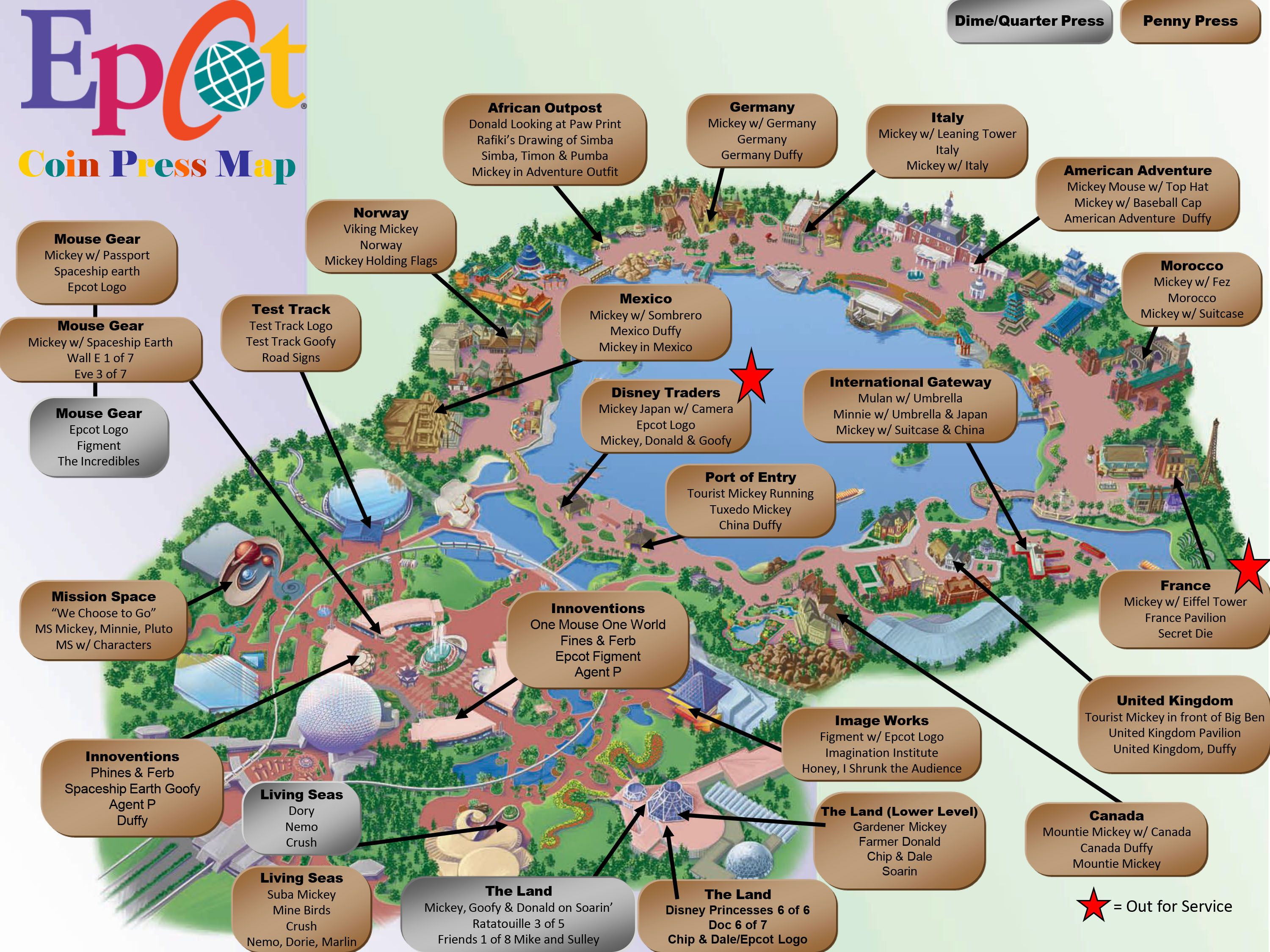 Printable Map Epcot Best Of Pressed Penny Machines Located In Magic Kingdom Map