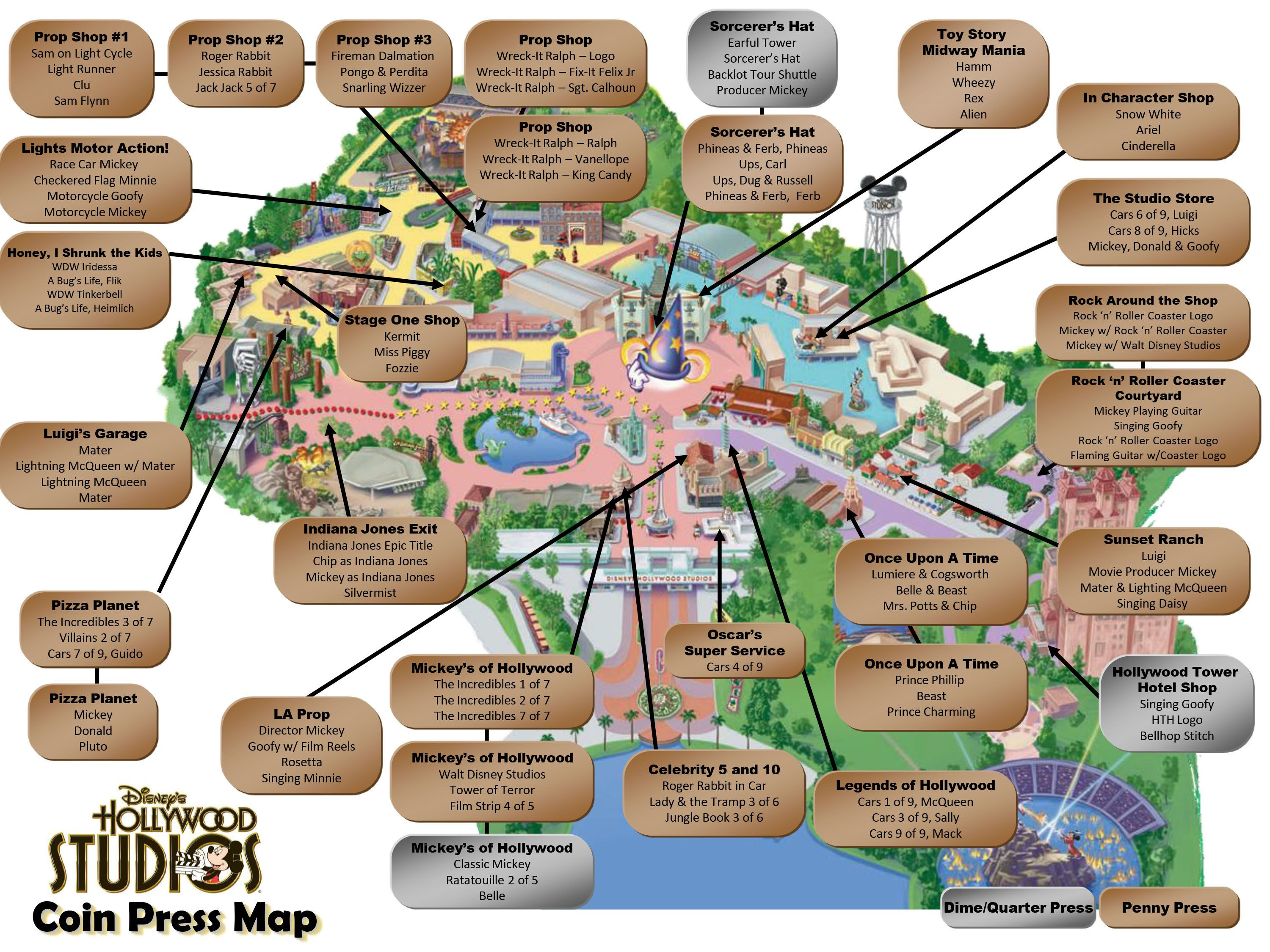 Printable Map Epcot Fresh Hollywood Studios Pressed Pennies Map Mickey Magic