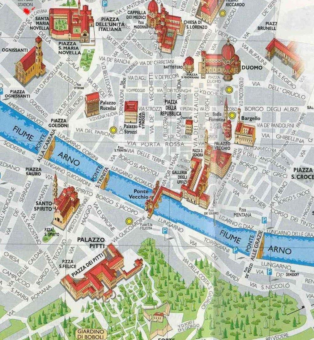 Places of interest map of Florence Firenze Italy