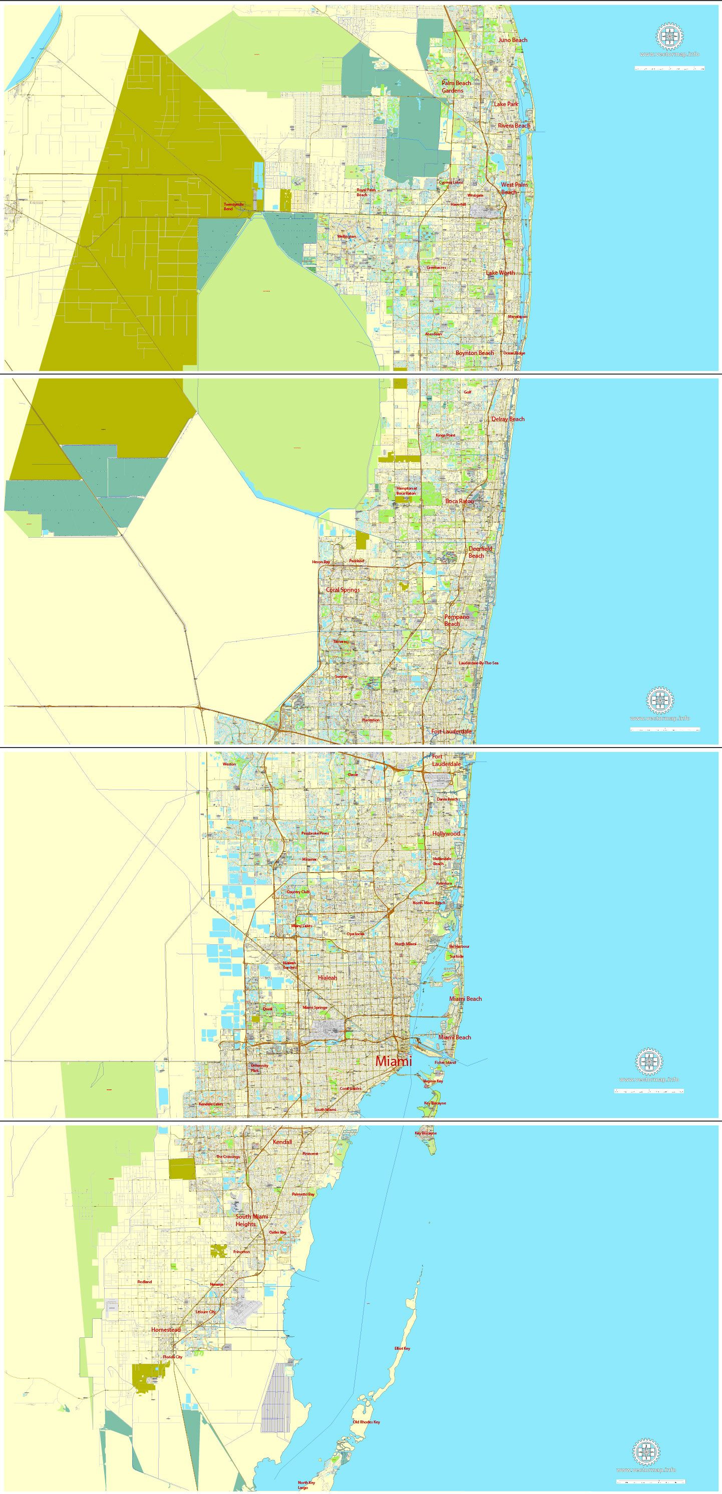 City Map Miami Vector Urban Plan Adobe Illustrator Editable Street Map Printable Map Greater Miami Florida
