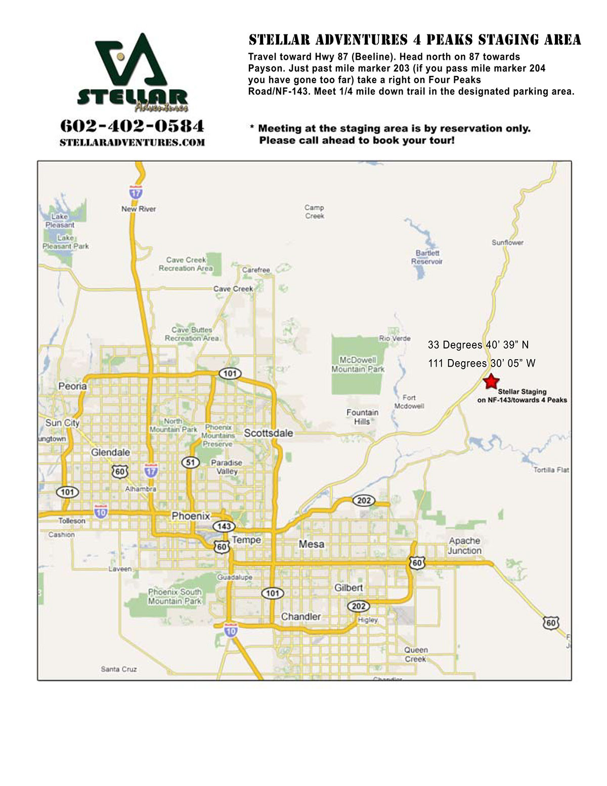 4 Peaks Staging Area Map Directions for Stellar Adventures Web