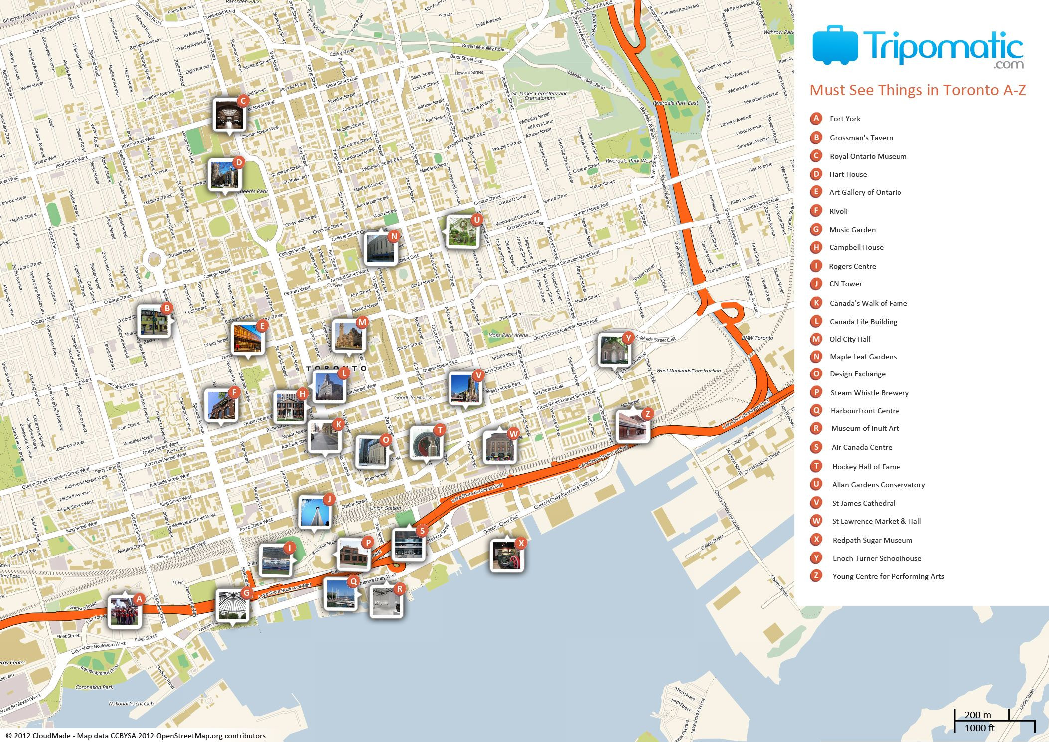 Free Printable Map of Toronto attractions