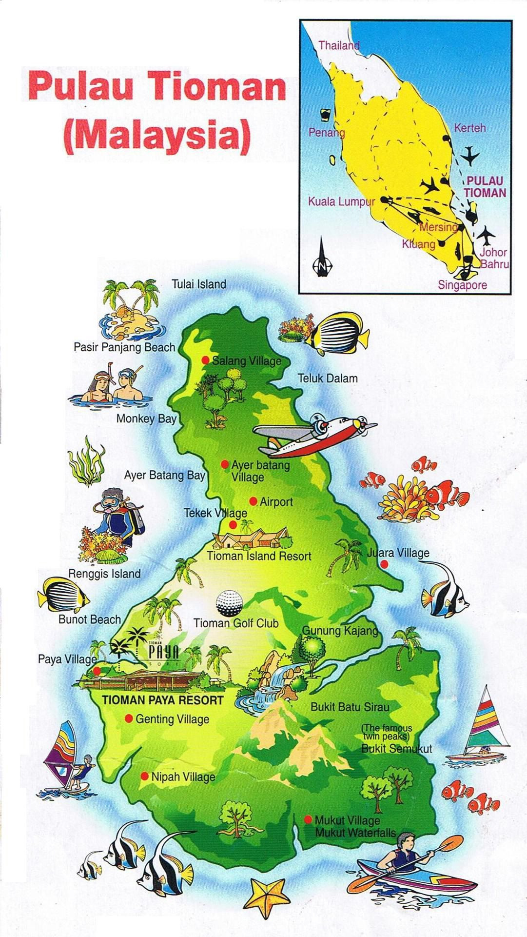Printable Map Georgetown Penang Awesome Map Tioman Island To Enlarge