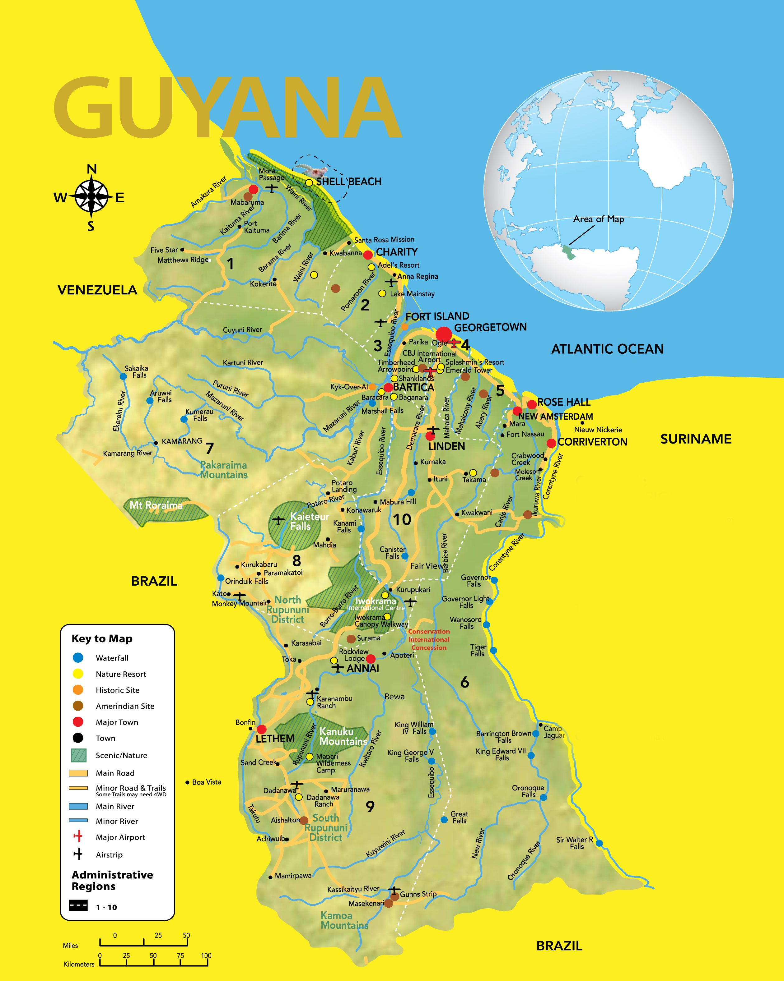 Guyana Road Map showing all the major roads with capital city and other major cities Description from 1001worldmap I searched for this on bing