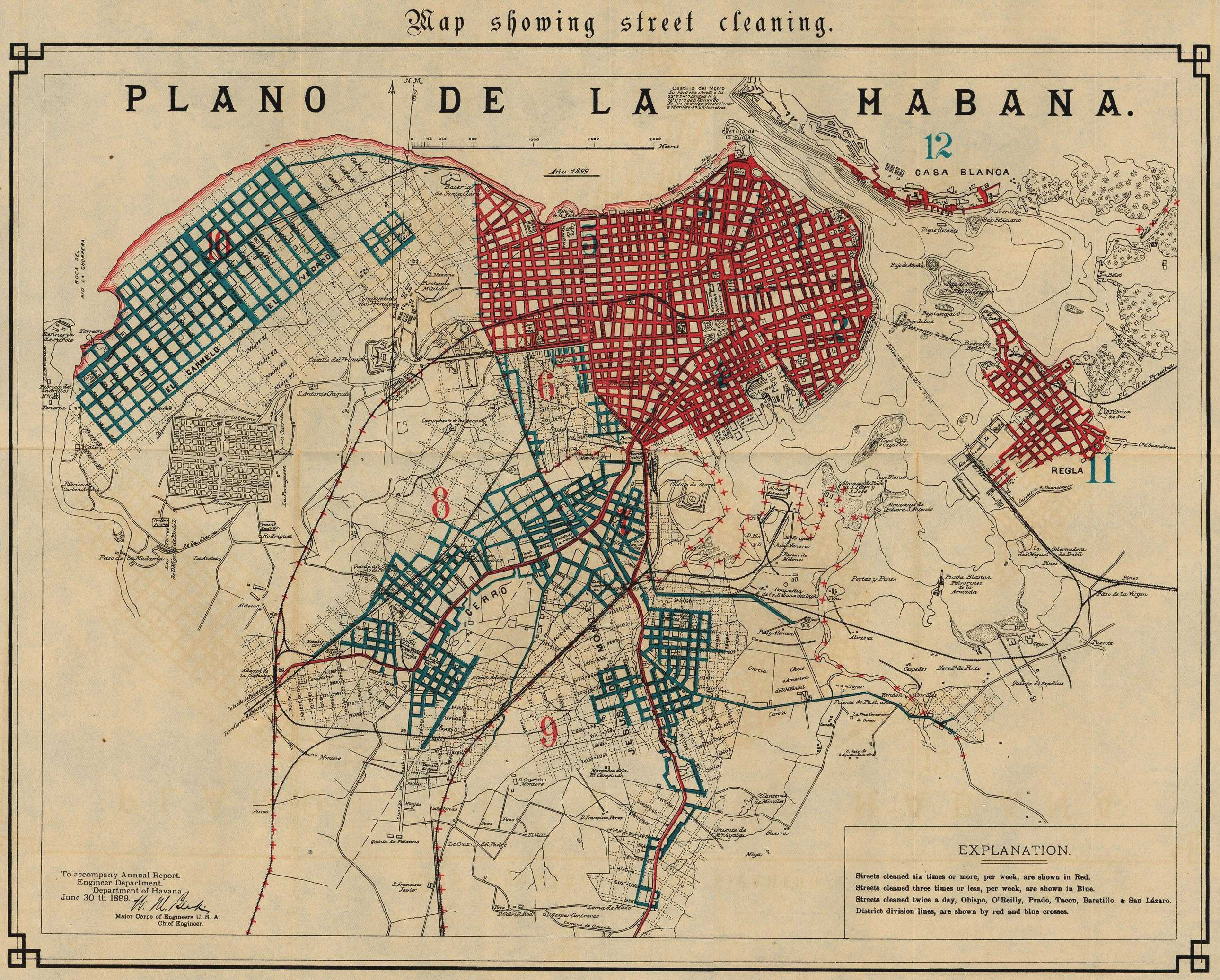 Havana Map Showing Street Cleaning 1899