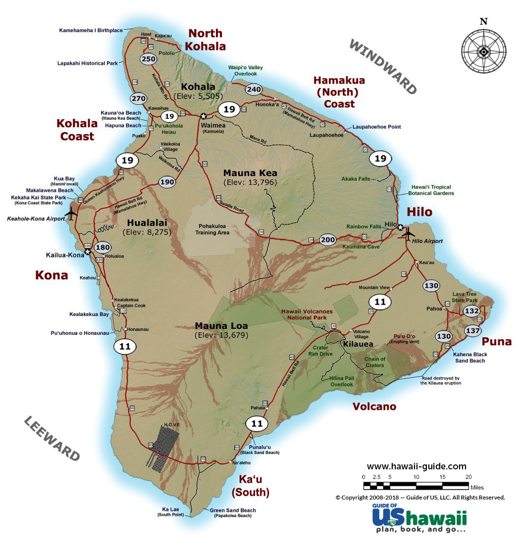 Printable Map Hawaii Big Island Awesome Big Island Of Hawaii Maps