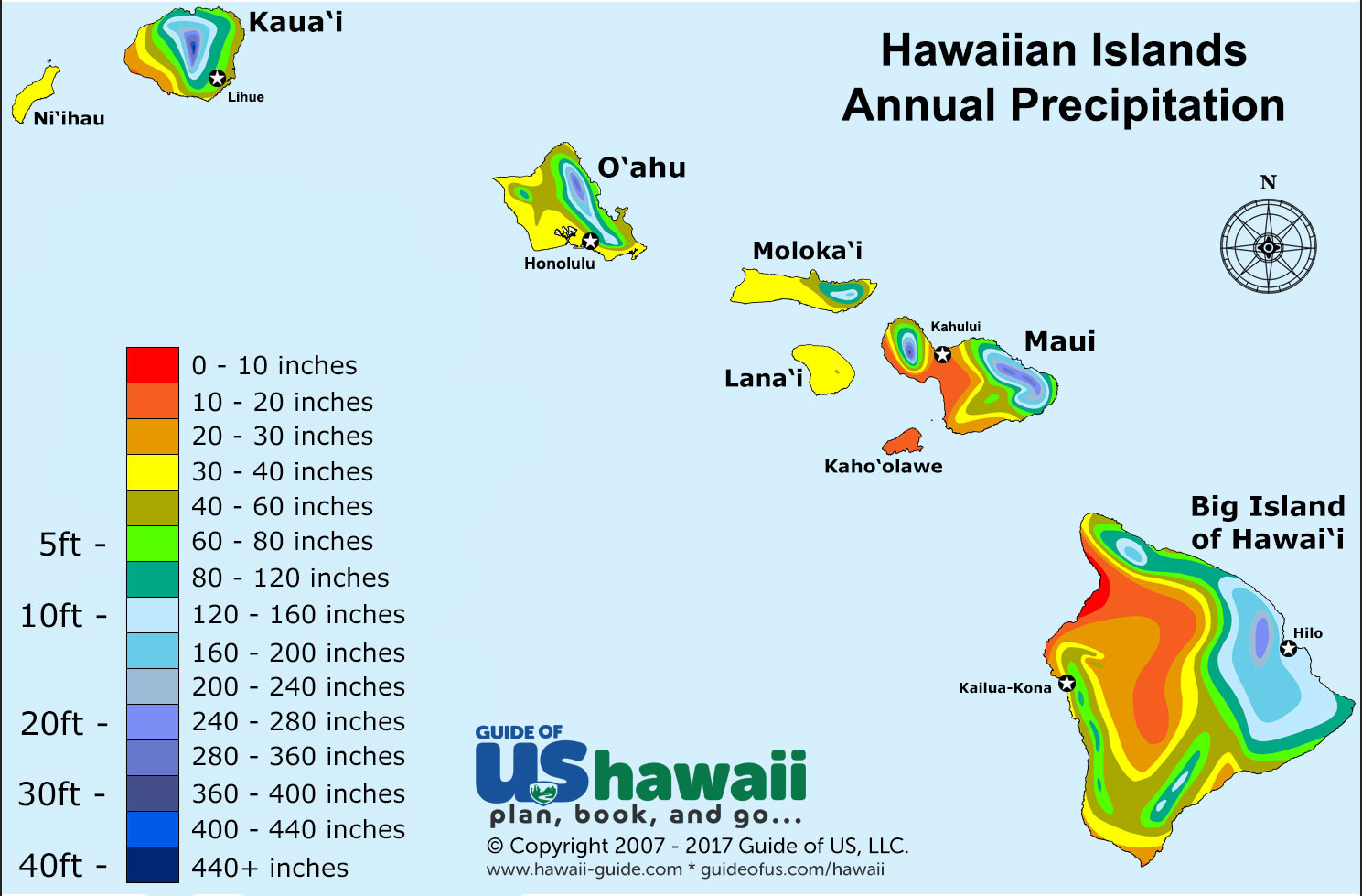Printable Map Hawaiian Islands New Hawaii Weather And Climate Patterns