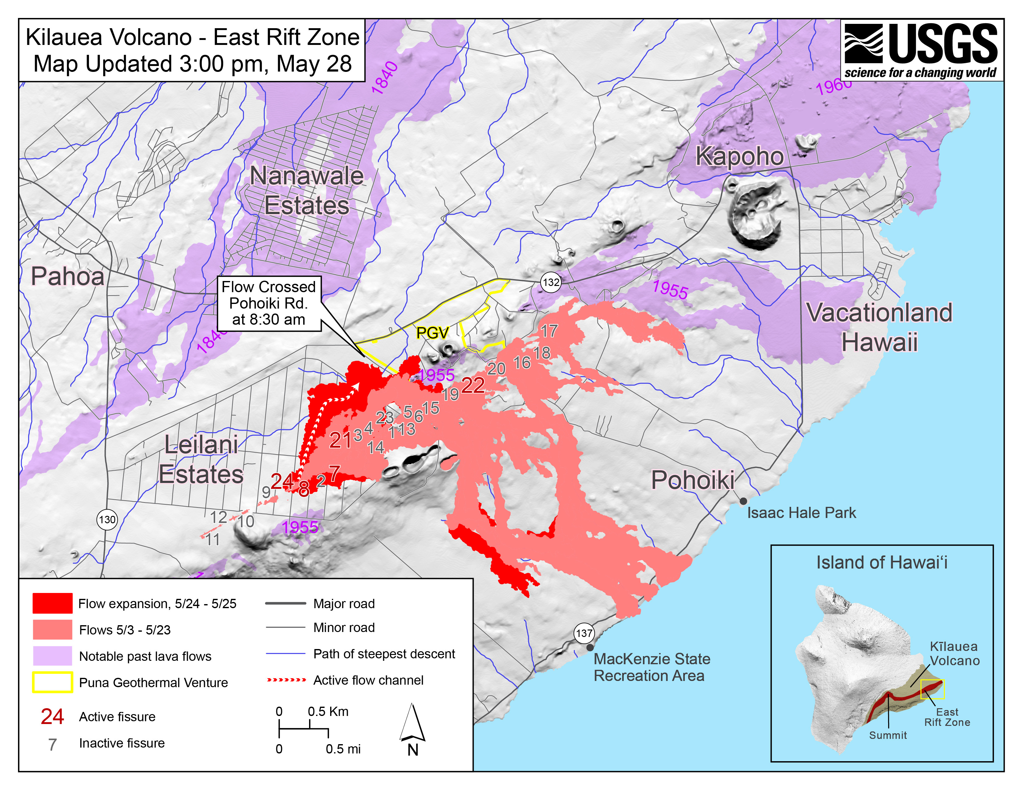 Map as of 3 00 p m HST May 28 2018 Shaded purple areas indicate lava flows erupted in 1840 1955 1960 and 2014 2015 to enlarge