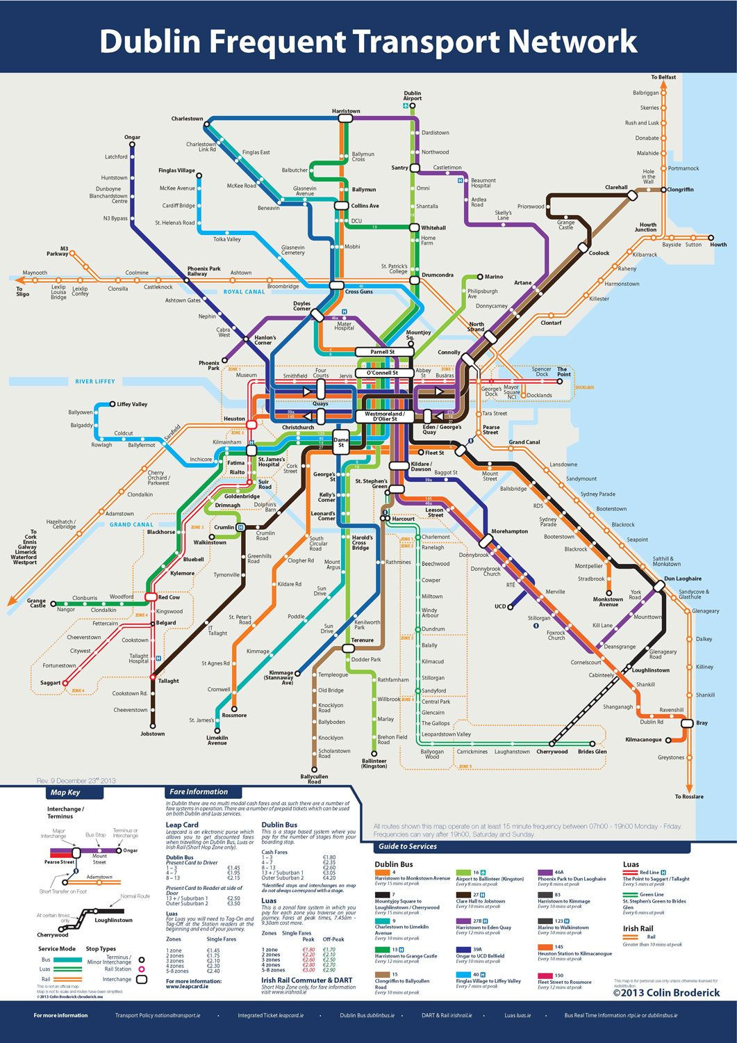 Never lost with this new Dublin Frequent Transport Map