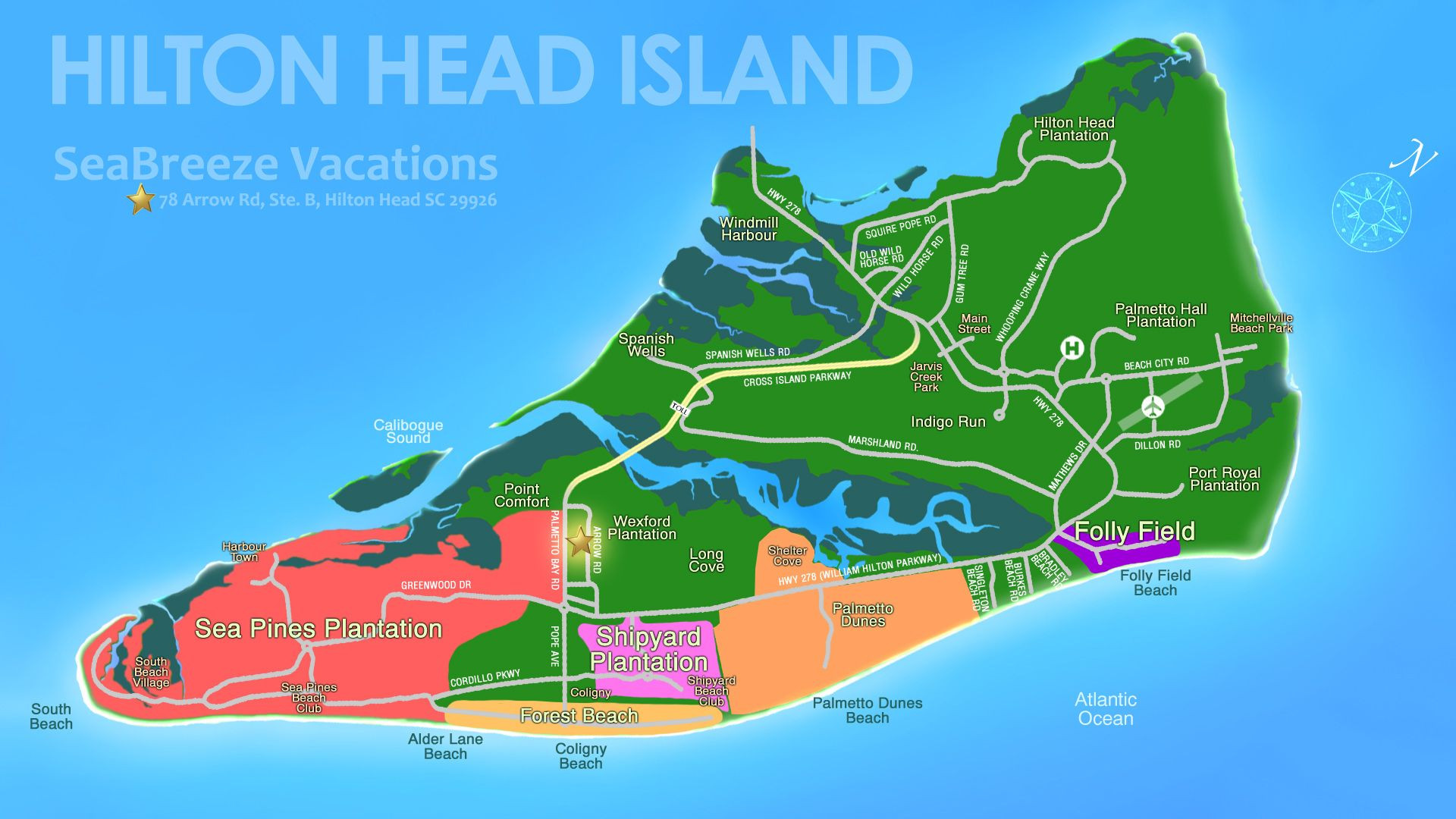 Printable Map Hilton Head Unique Hilton Head Island Beach Hilton Head Vacations