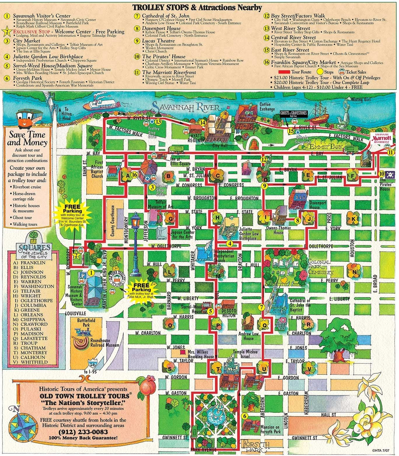 Old Town Trolley Tours of Savannah route map This is a great walking map Places I ve Been Pinterest