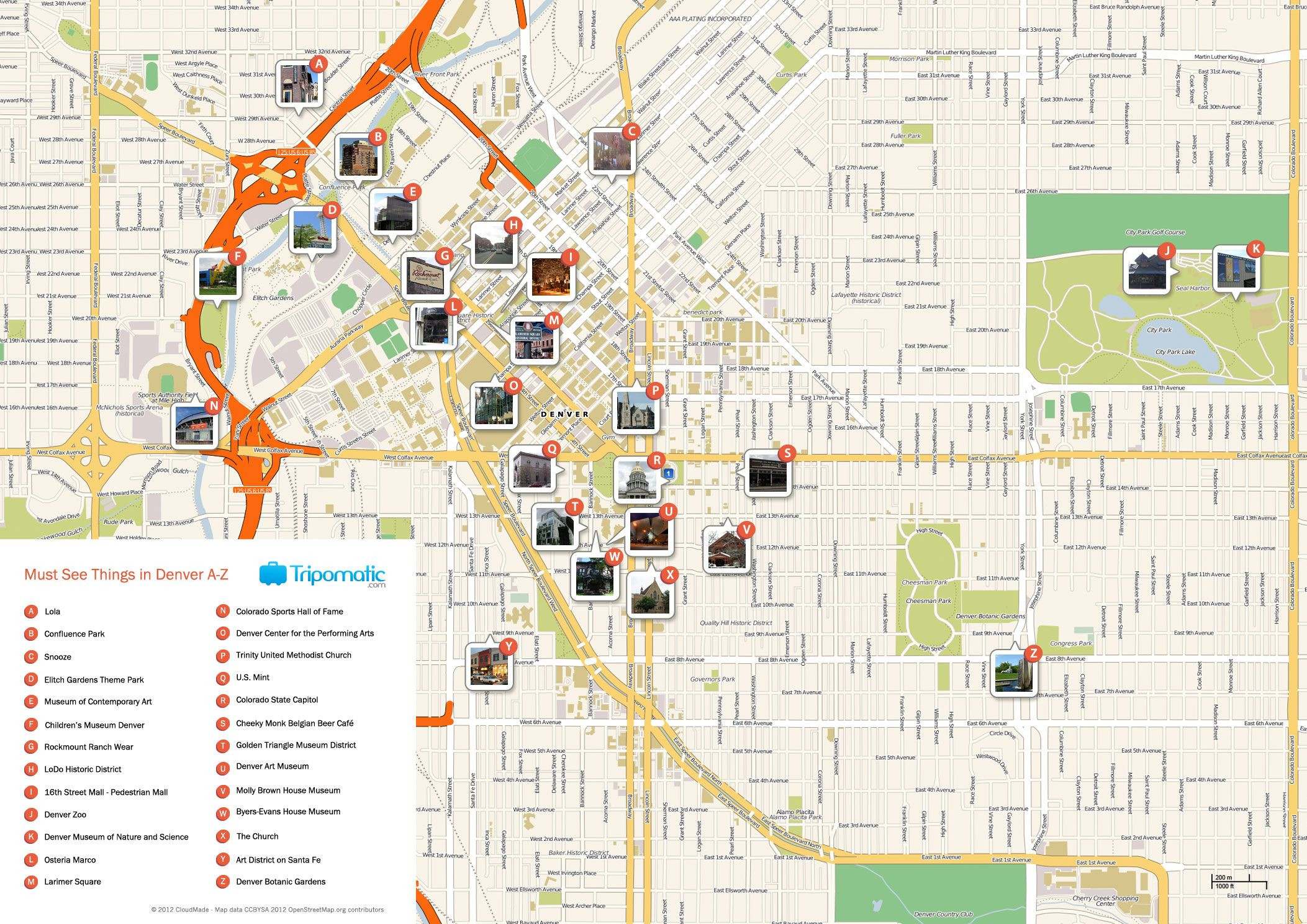 Free Printable Map of Denver attractions