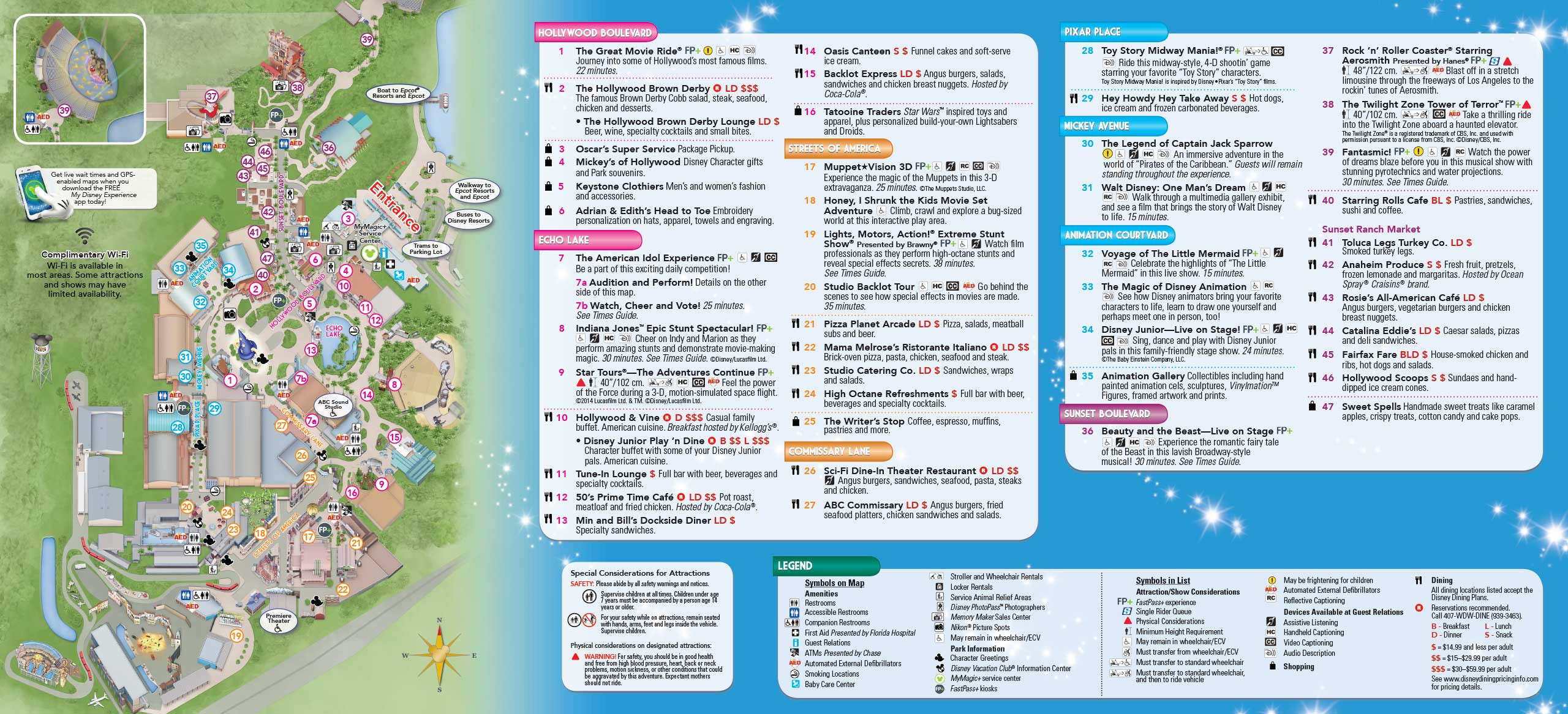 Printable Map Hollywood Studios Best Of 2014 Walt Disney World Park Maps With Fastpass 8 Of 8