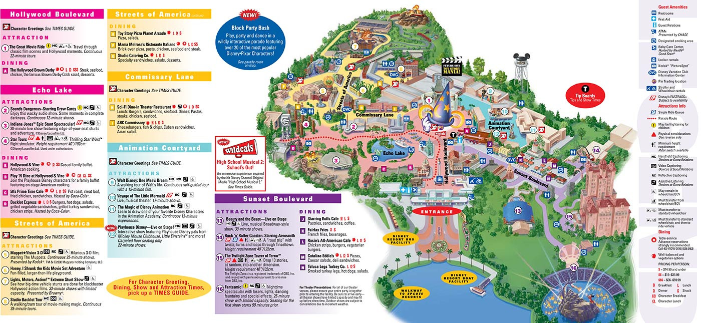 Printable Map Hollywood Studios Fresh Park Maps 2008 3 Of 4