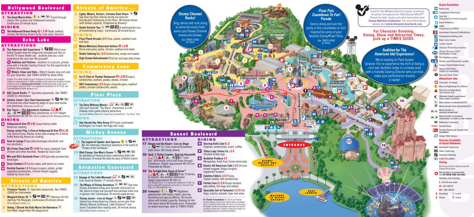 Walt Disney World Map 2014 Printable Park And For Hollywood Studios